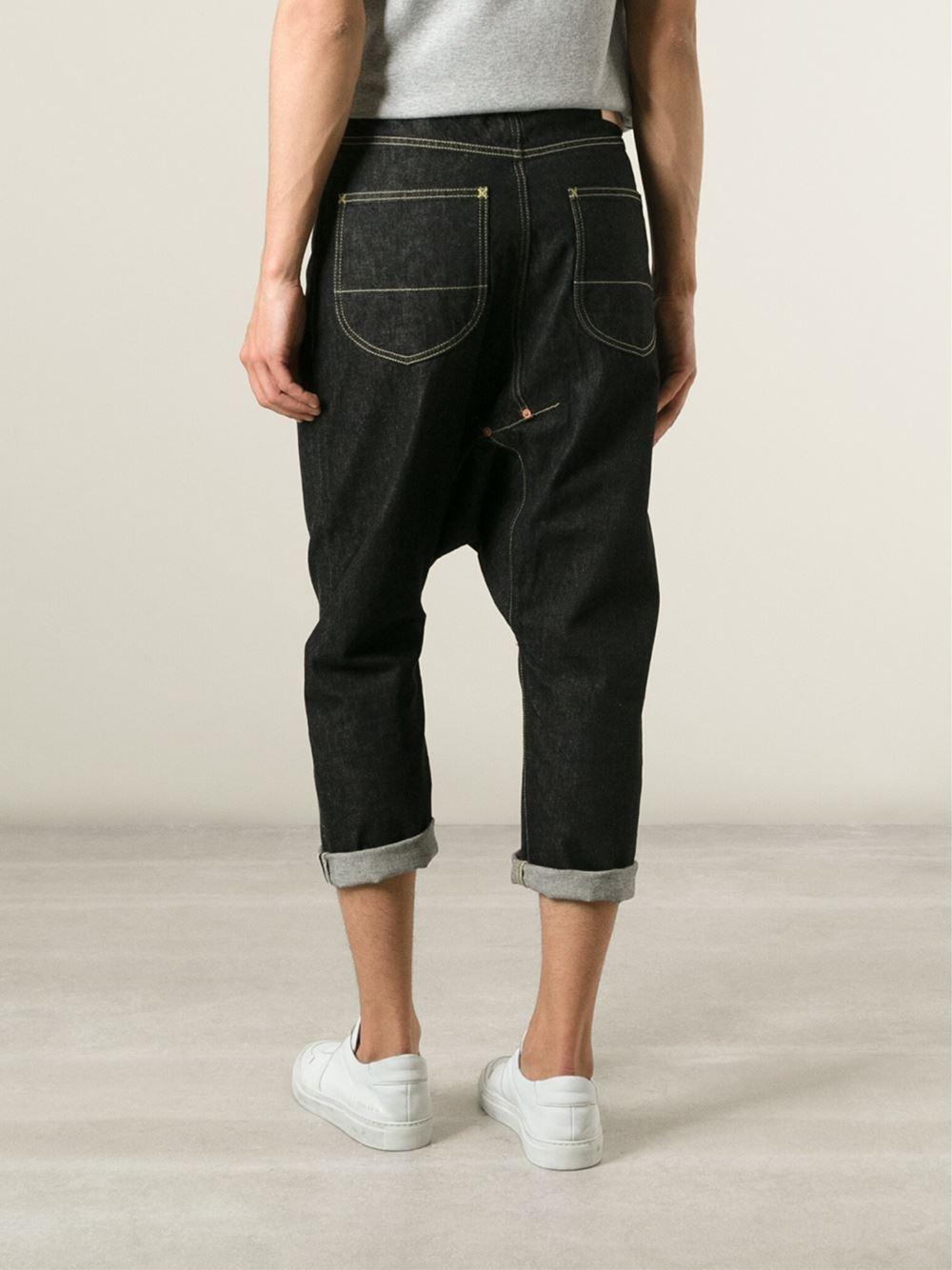 Lyst Ganryu Comme Des Gar 231 Ons Cropped Drop Crotch Jeans