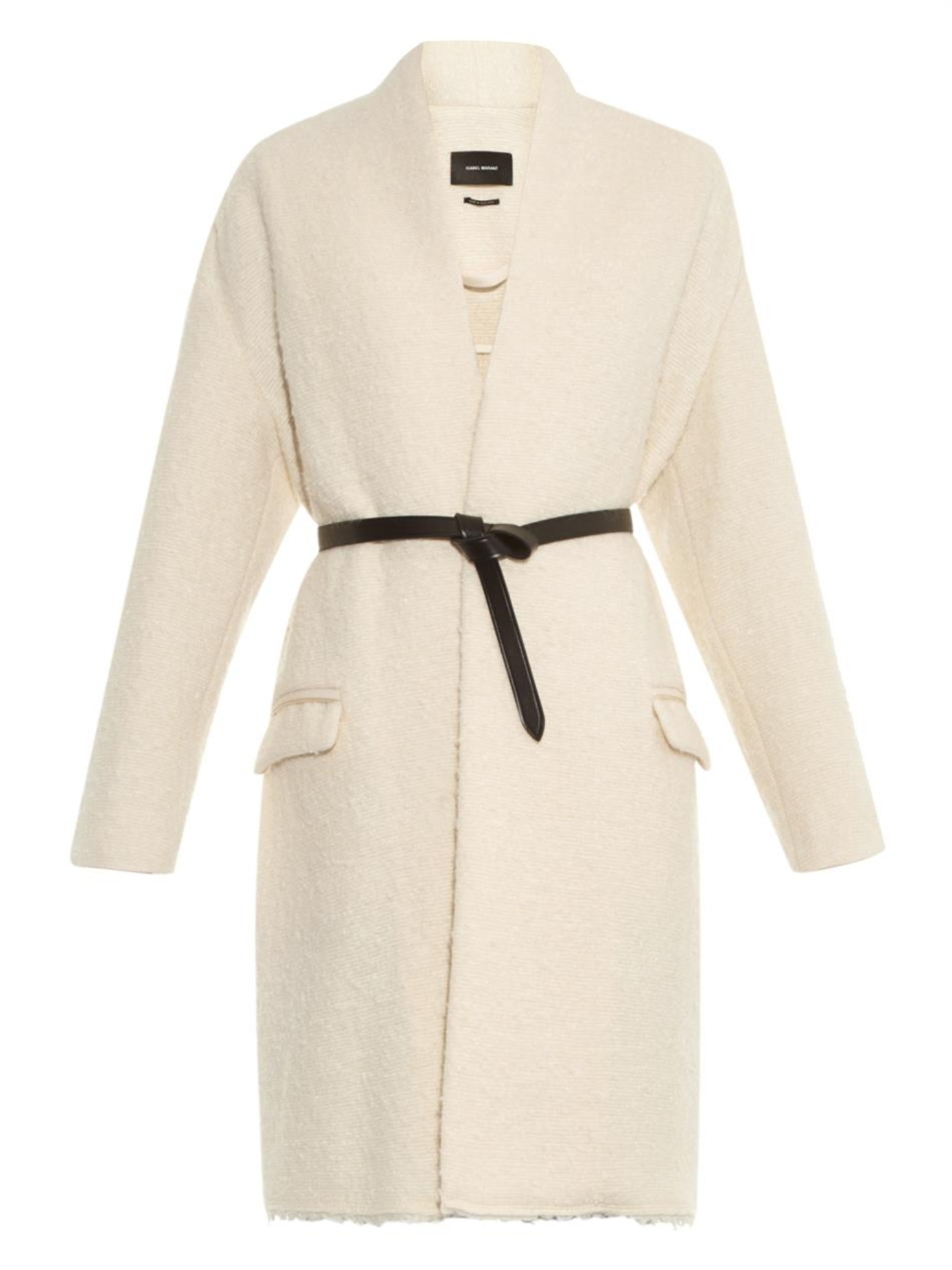 Isabel marant Seal Wool-Blend Cocoon Coat in Natural | Lyst