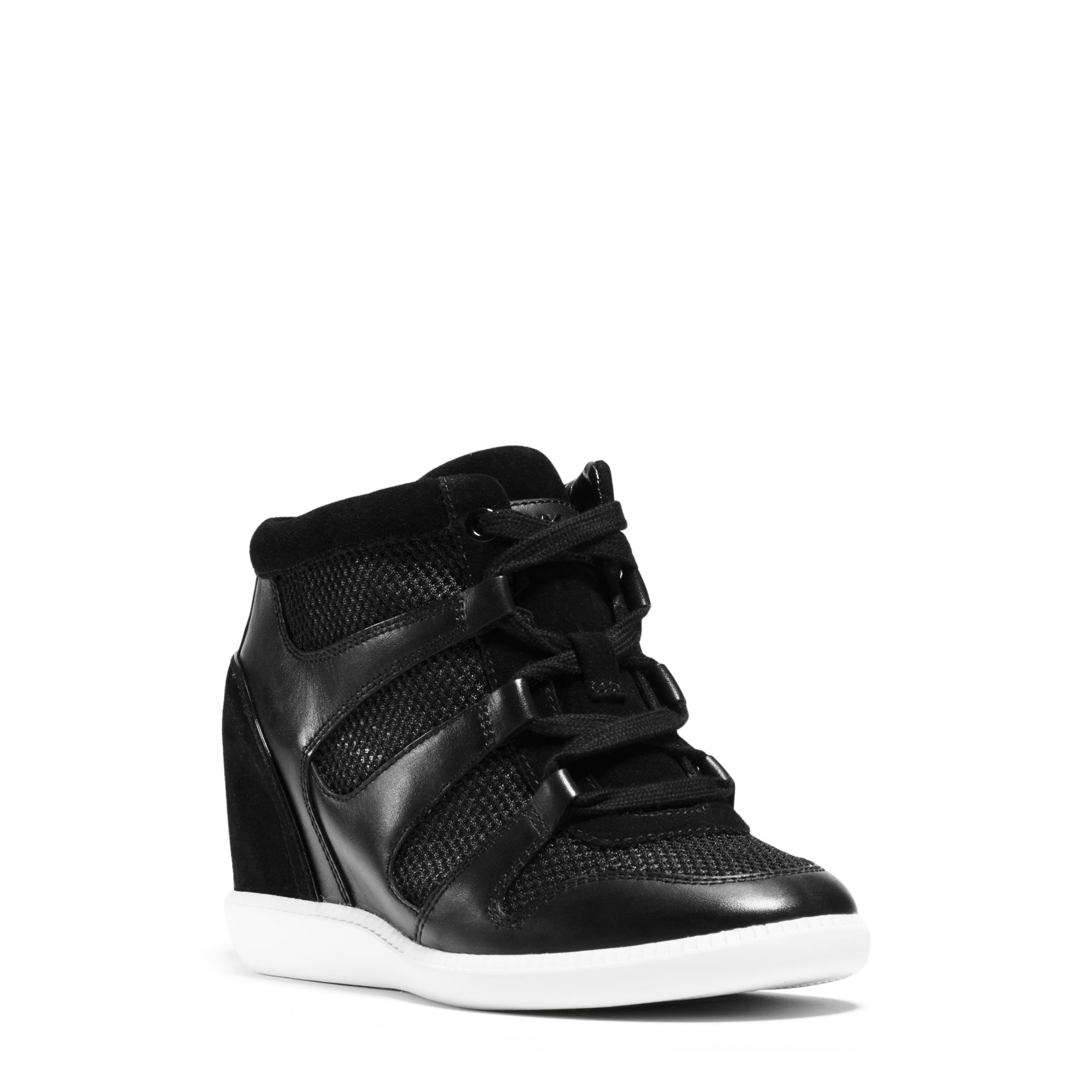 michael kors astrid mixed media high top sneaker in white lyst. Black Bedroom Furniture Sets. Home Design Ideas