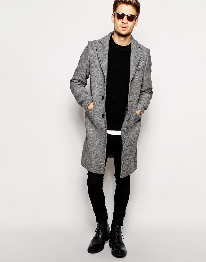 Selected Selected Herringbone Overcoat in Gray for Men