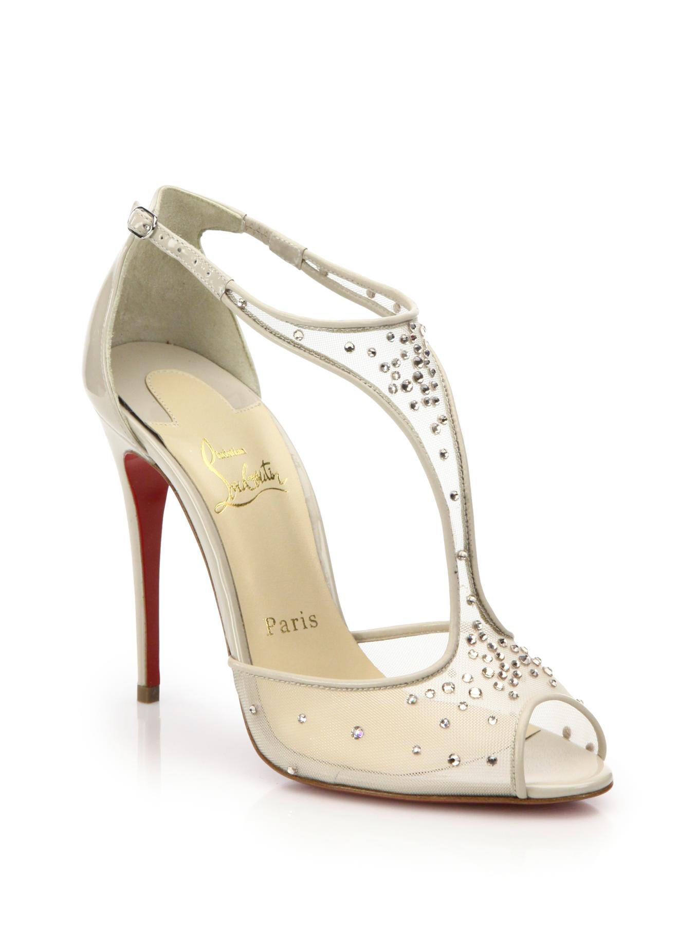 replica louboutin - Christian louboutin Patinana Crystal Mesh T-strap Sandals in Gold ...