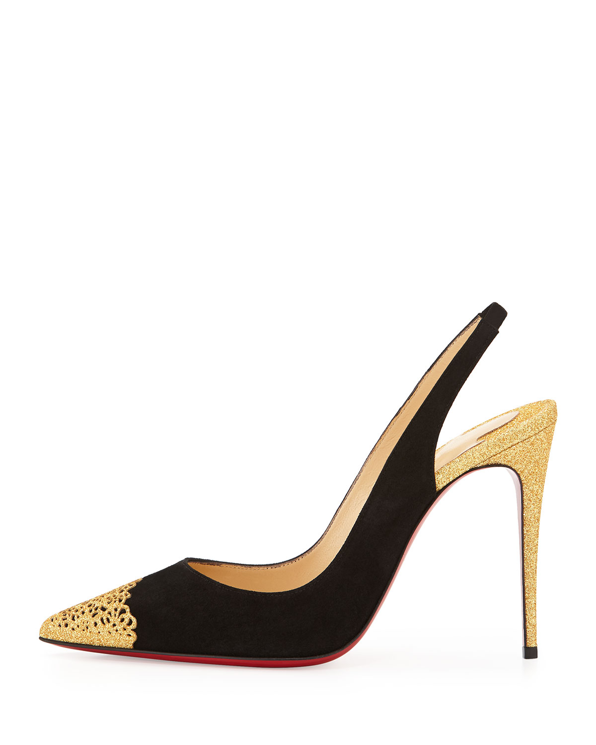 Christian louboutin Mayerling Slingback Sandals in Black | Lyst
