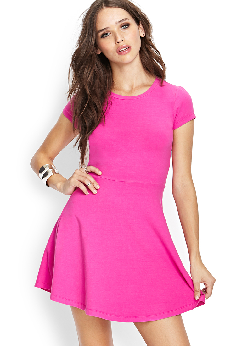 Forever 21 Go-to Skater Dress in Pink   Lyst