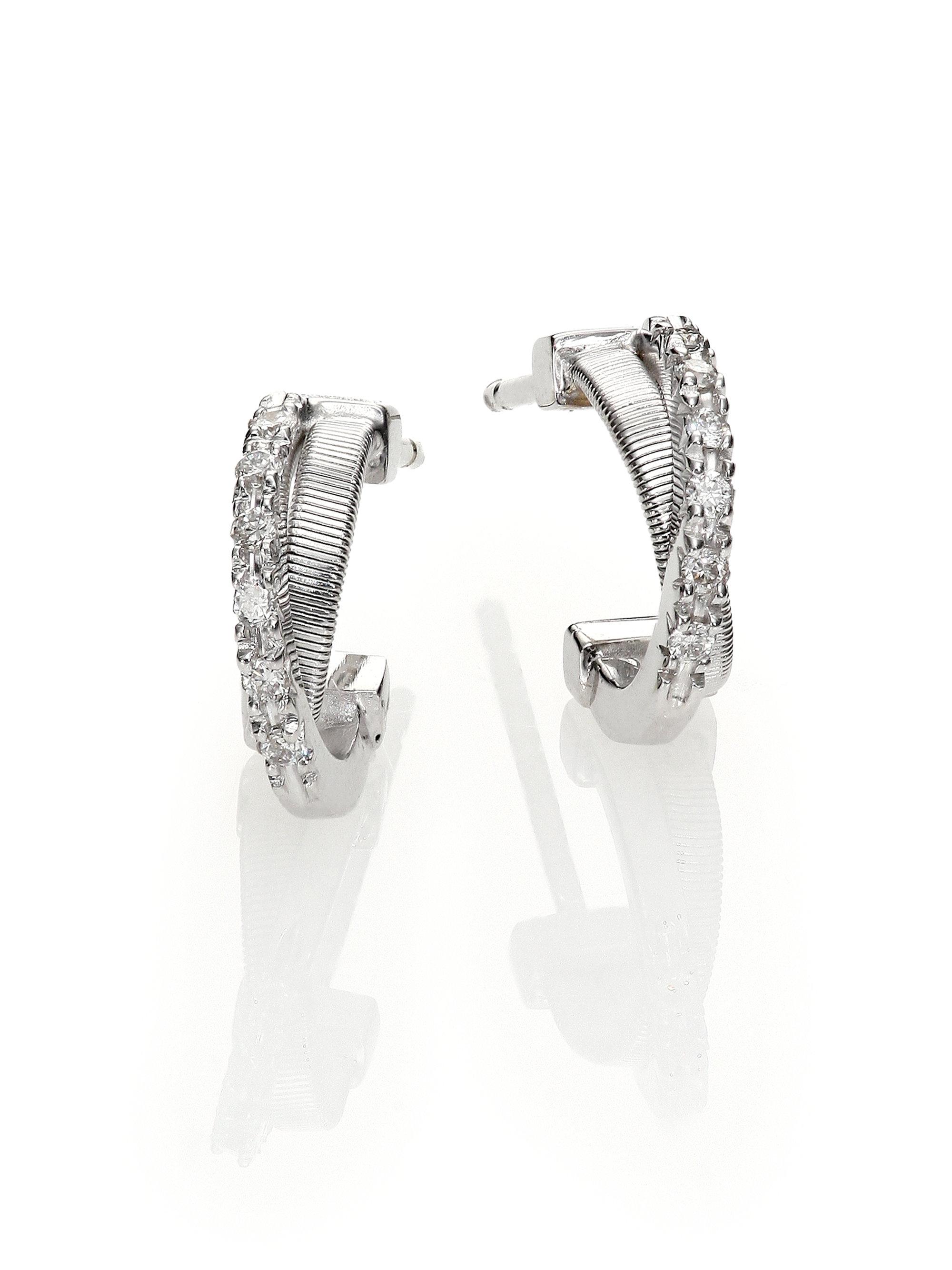Marco bicego Goa Earrings Diamond & 18k White Gold Huggie Hoop