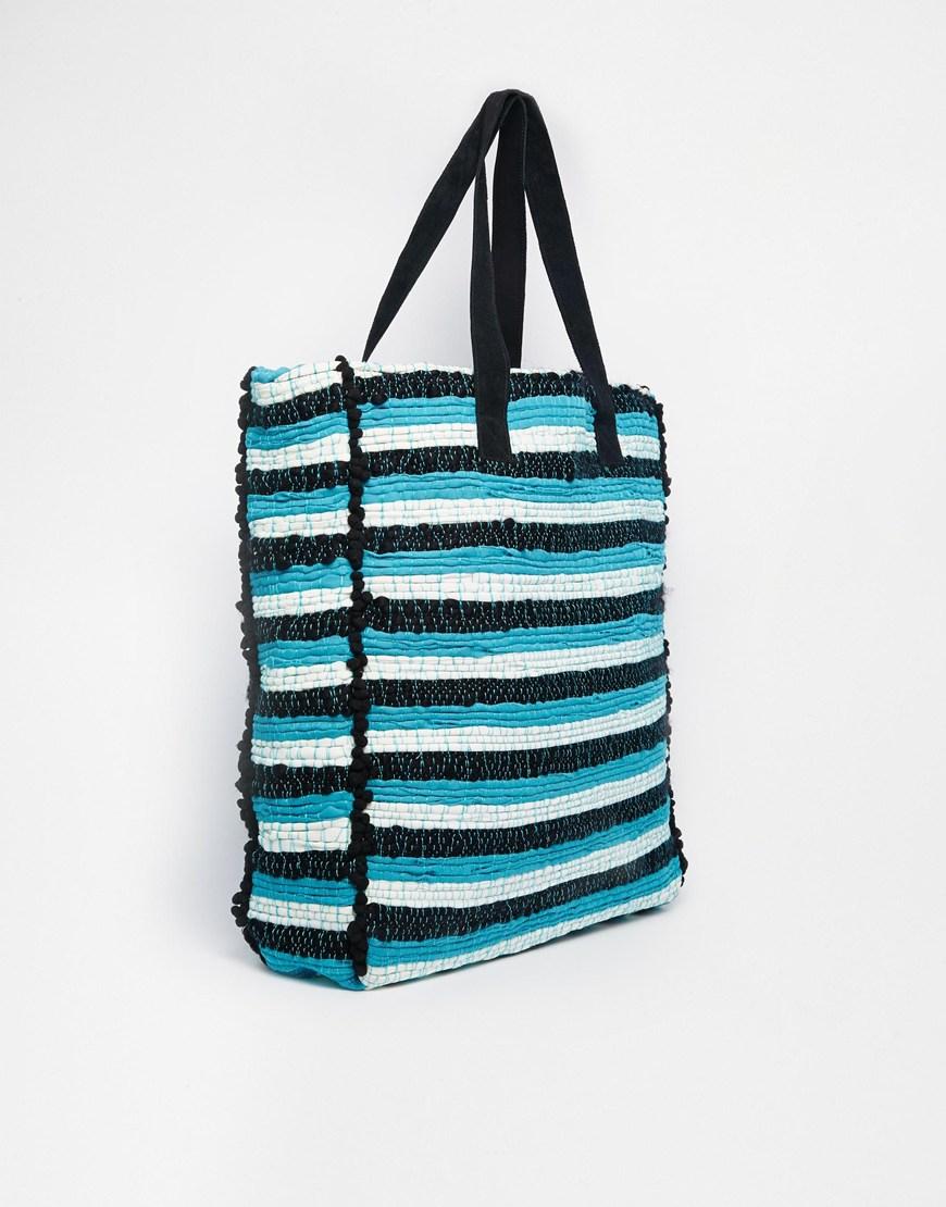 asos pom pom weave shopper bag in multicolor lyst