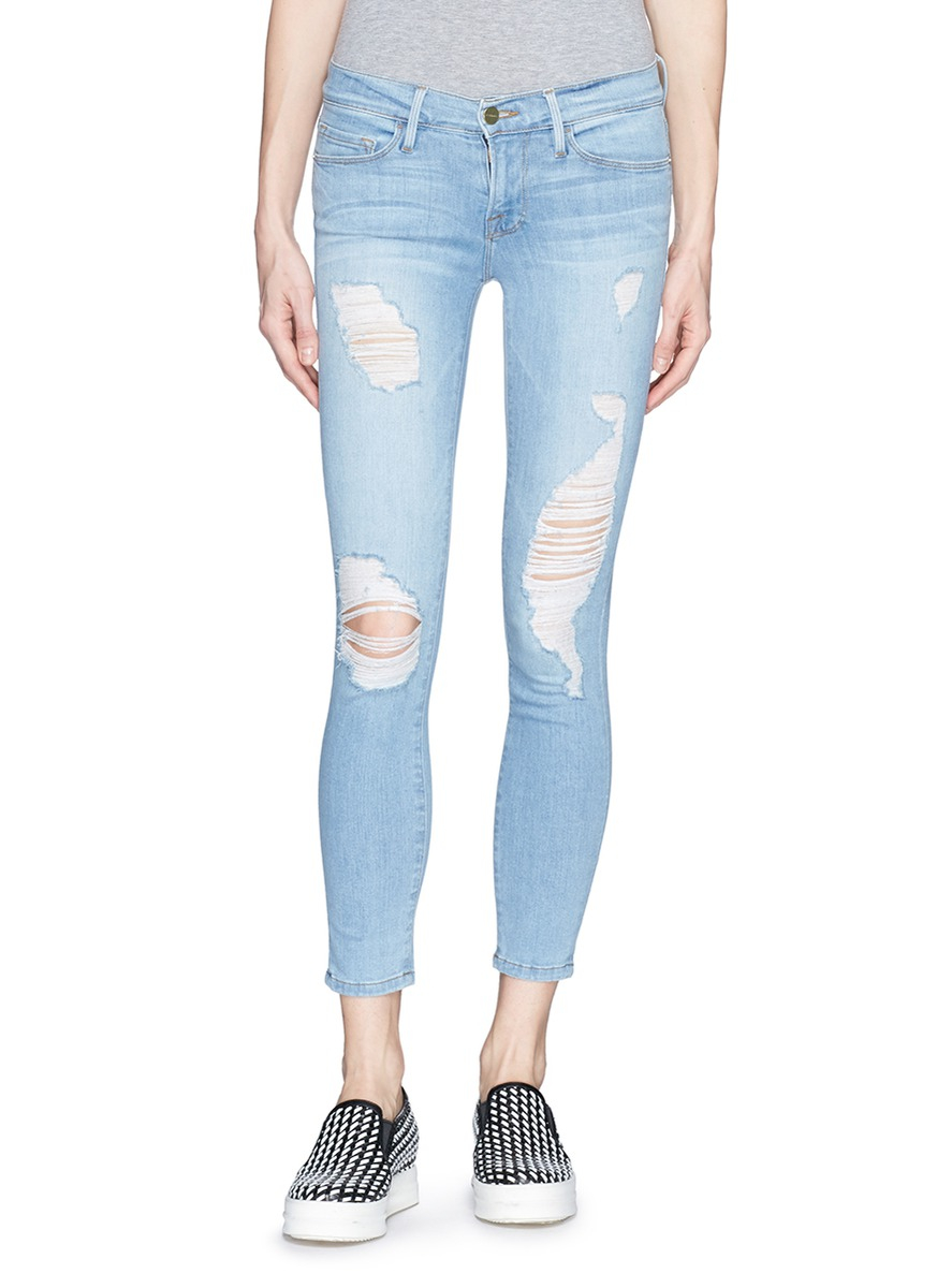 Frame 'le Skinny De Jeanne' Distressed Cropped Jeans in Blue | Lyst