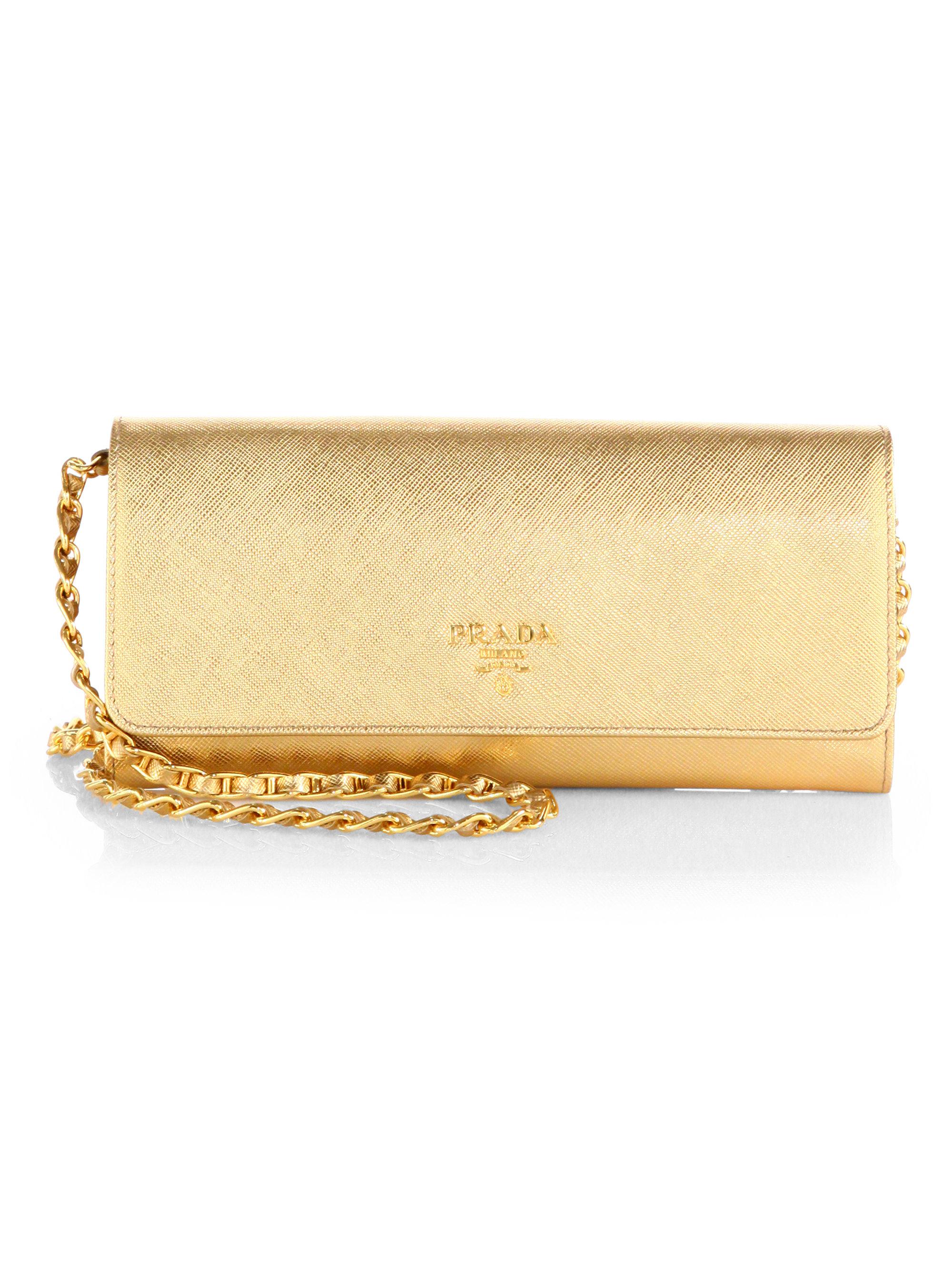 Prada Saffiano Metal Oro Chain Wallet in Gold (PLATINO-GOLD) | Lyst
