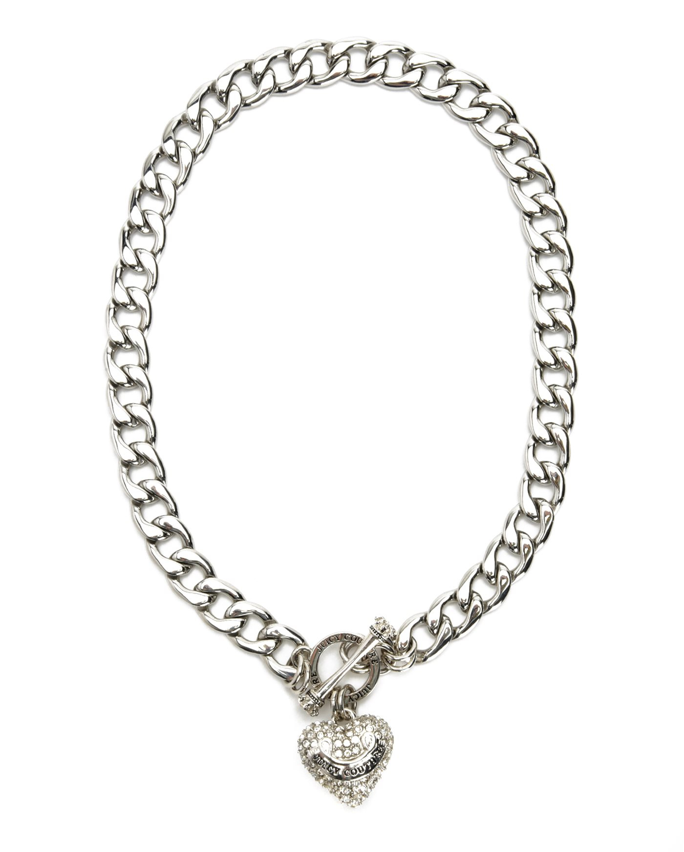Juicy couture Pave Banner Heart Starter Necklace in Silver ...