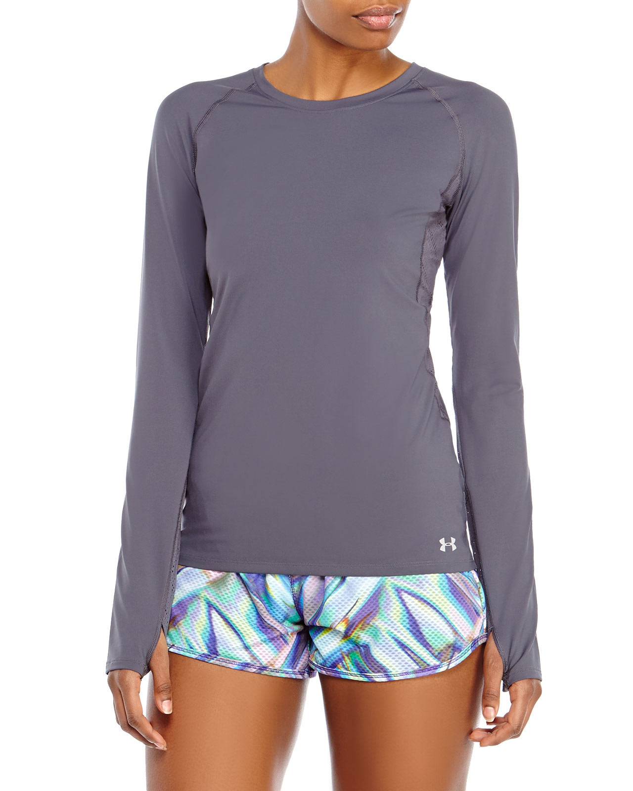 Under armour vented long sleeve shirt in gray charcoal for Gray under armour shirt