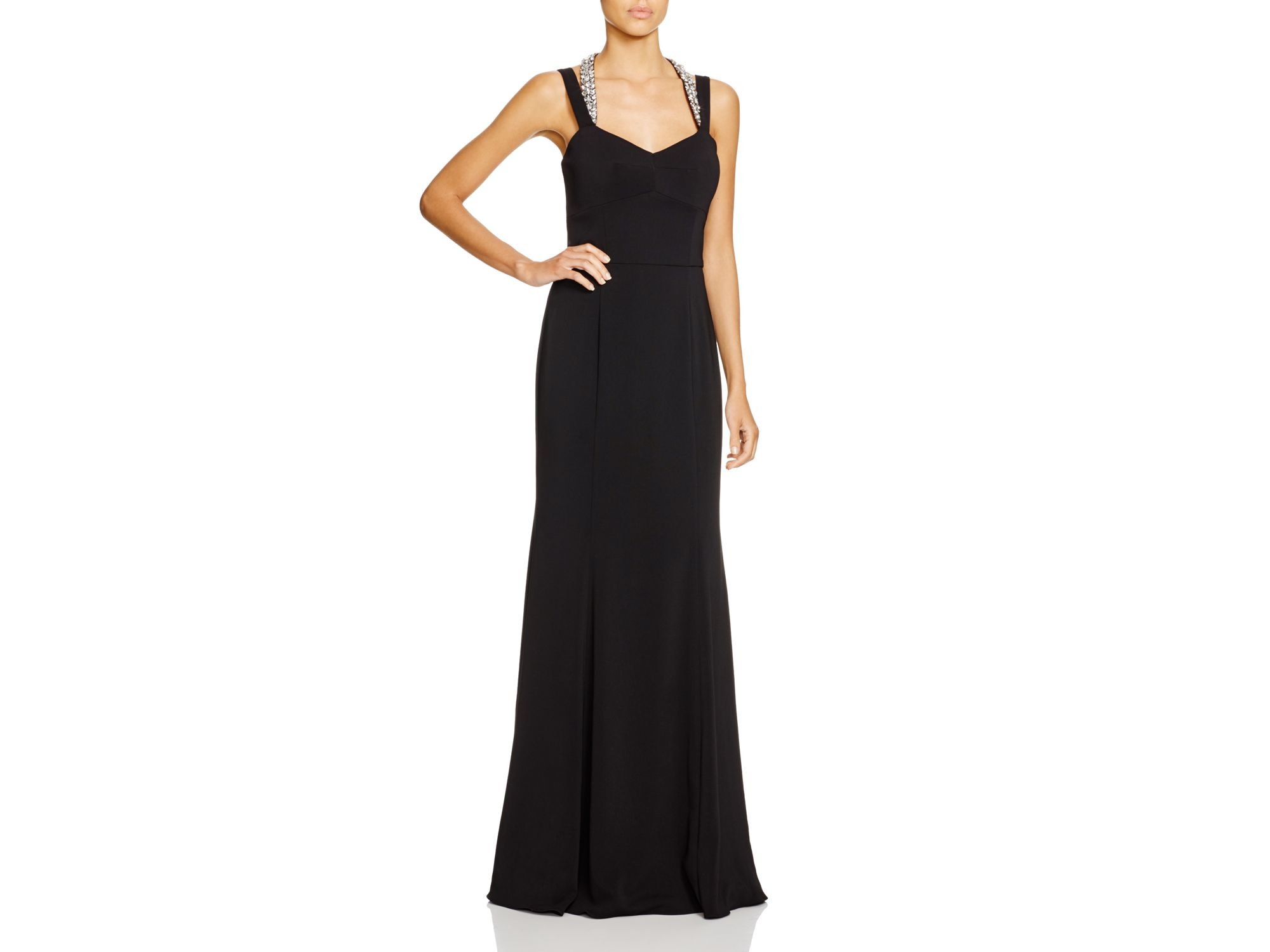 Lyst - Js Collections Beaded Strap Crepe Gown in Black