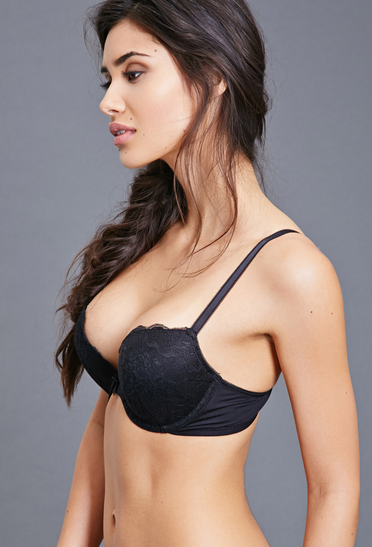 Lyst Forever 21 Lace Push Up Bra In Black