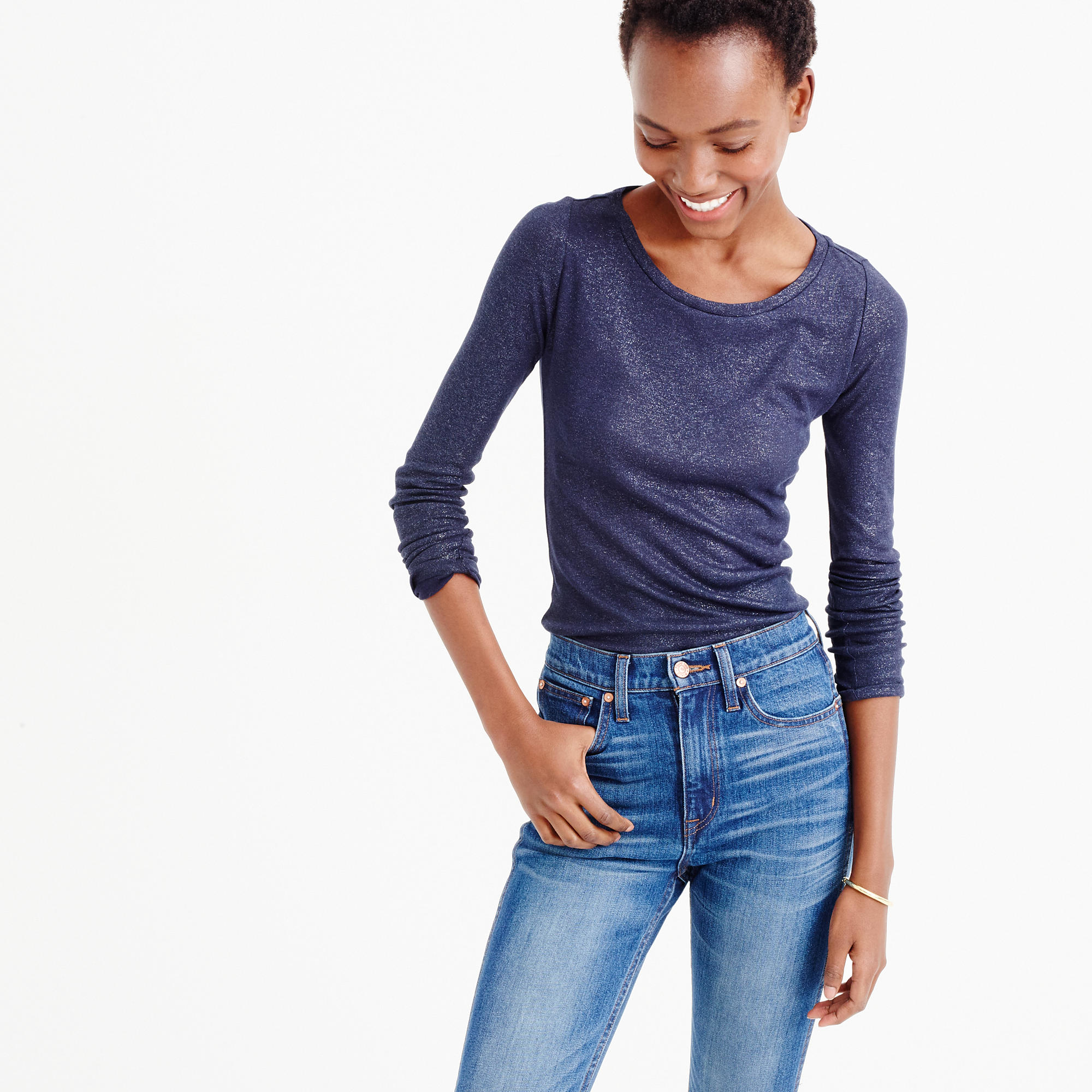 Lyst j crew metallic perfect fit t shirt in blue for Silver jeans t shirts