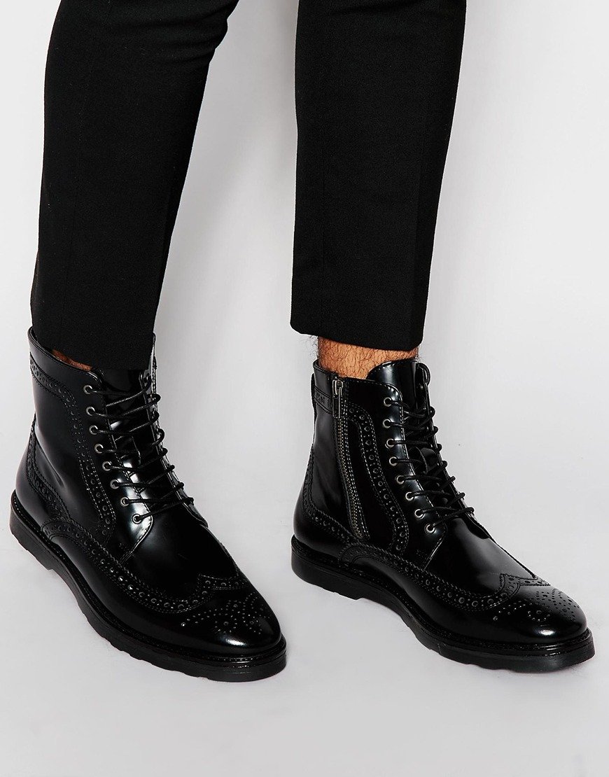 Brogue Boots In Black Leather With Contrast Sole - Black Asos hjlNgrCgaJ