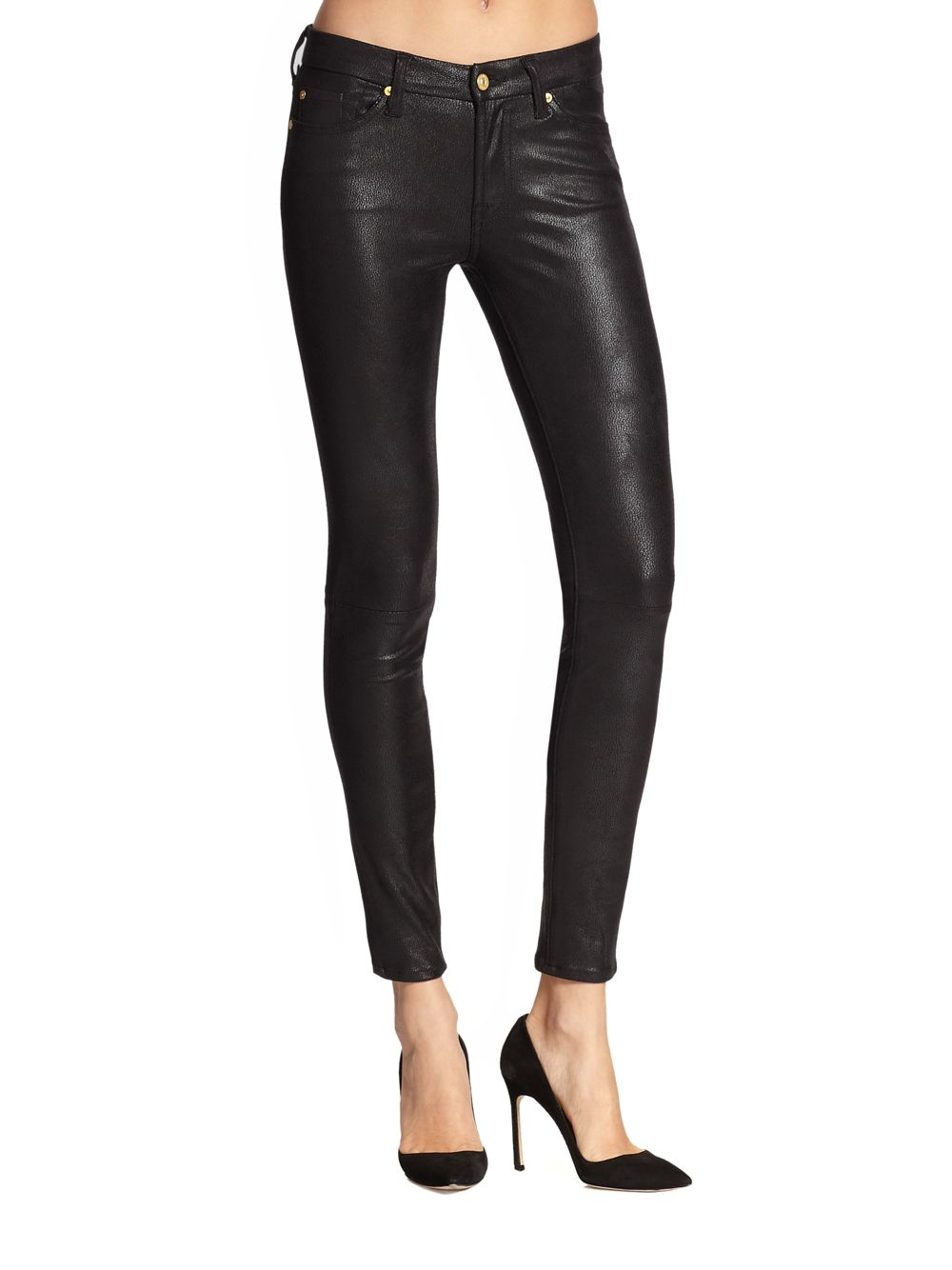 7 for all mankind Crackle Leather-look Coated Skinny Jeans in ...