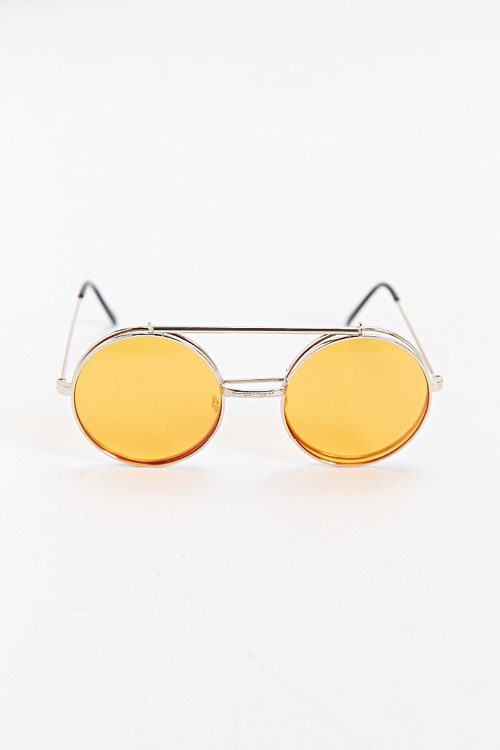 44a4c9f4539f Urban Outfitters Orange Flip Lens Round Sunglasses in Metallic for ...