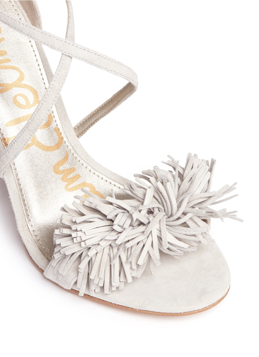 d2378967d38f Sam Edelman  aisha  Fringe Suede Sandals in White - Lyst