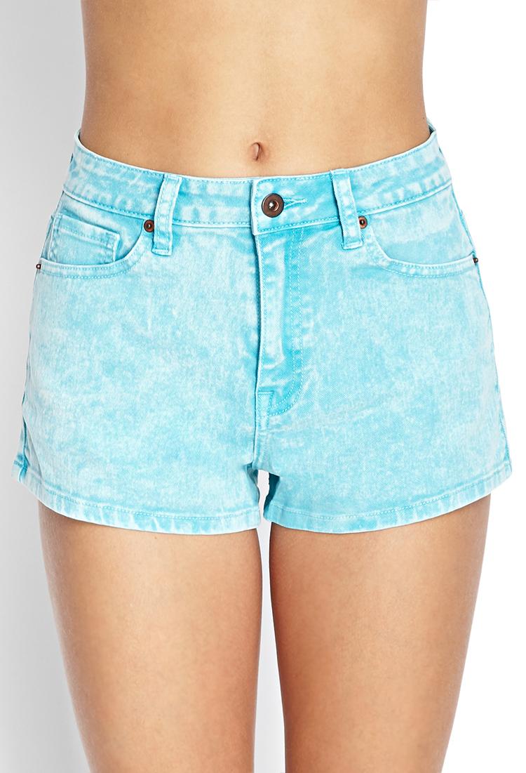 lyst forever 21 mineral wash denim shorts in blue