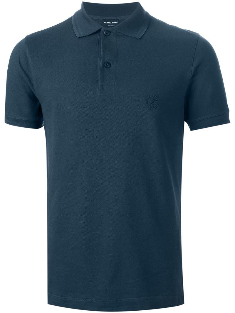 Giorgio armani logo embroidered polo shirt in blue for men