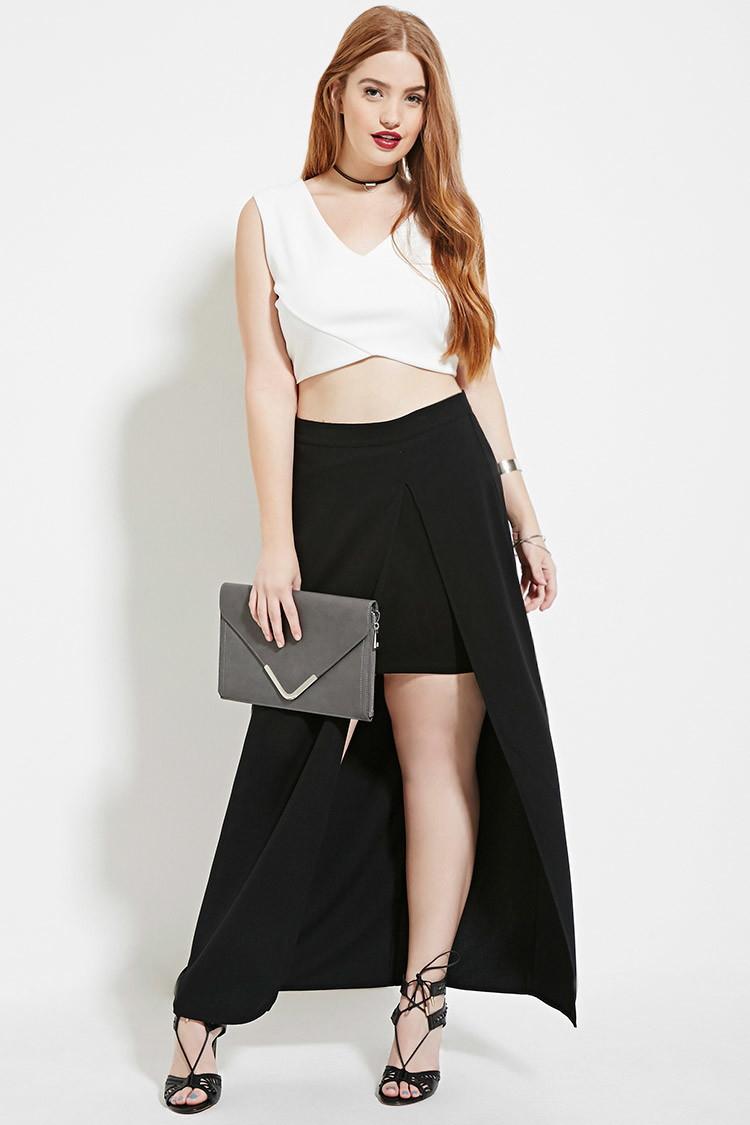 e980c21f422 Forever 21 Plus Size High-slit Maxi Skirt in Black - Lyst