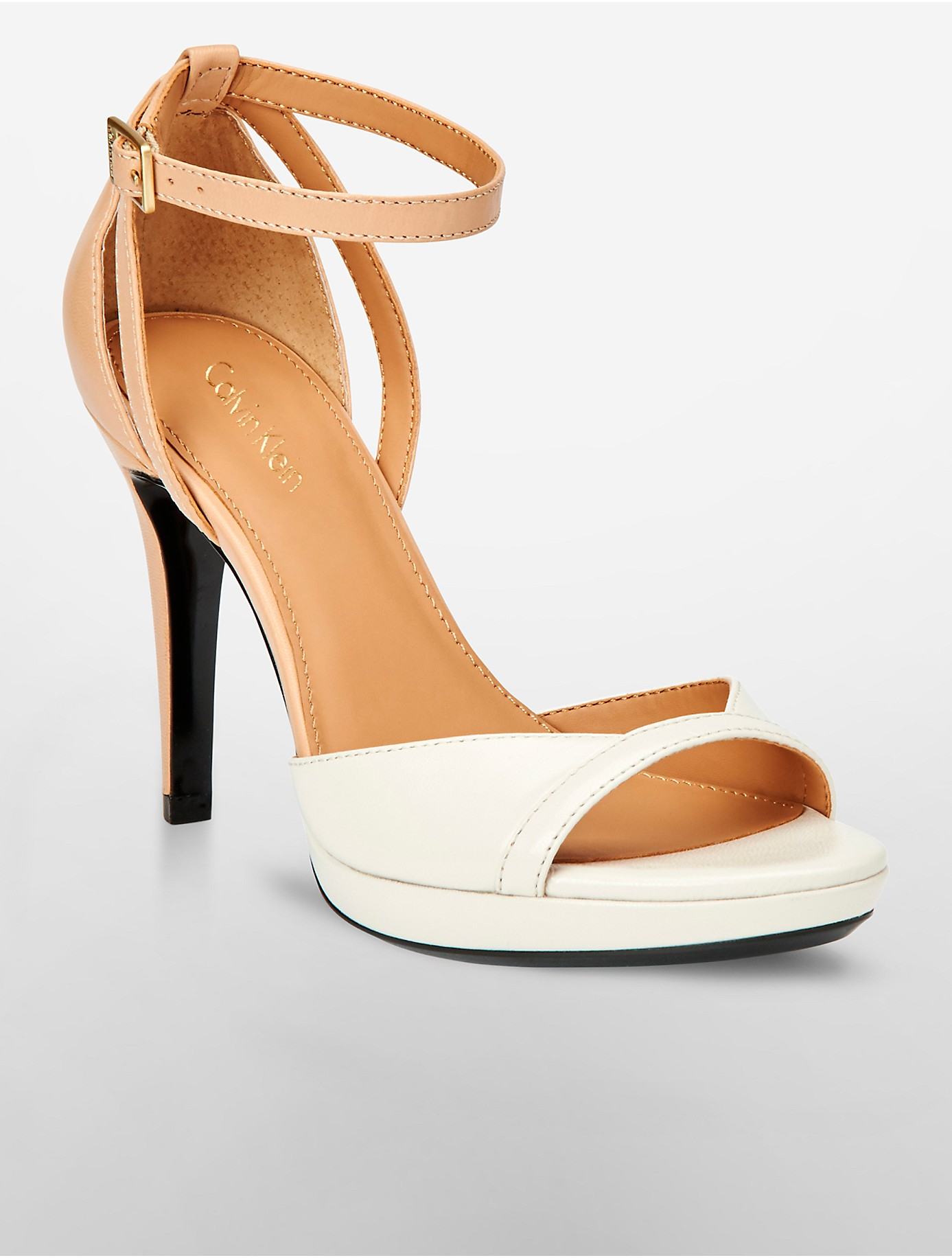 pick a best cheap price discount get authentic Calvin Klein Embossed Leather Peep-Toe Sandals discount best sale outlet collections enF0usEn