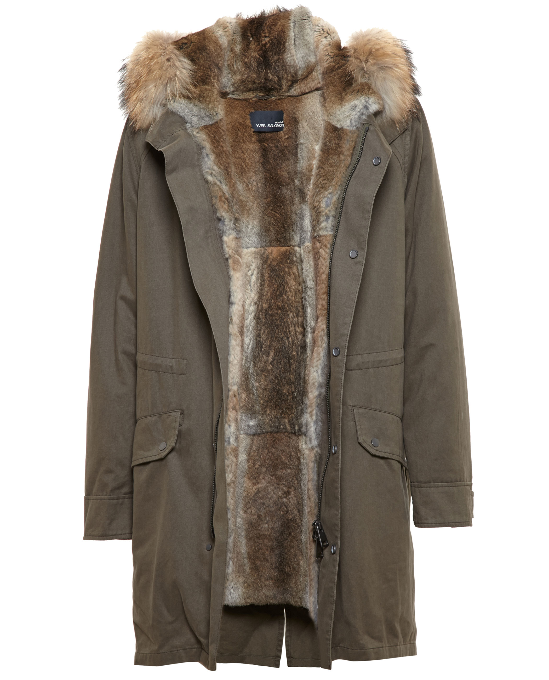 2f0c07e7b5ad Lyst - Yves Salomon Classic Rabbit Fur-lined Canvas Parka in Gray ...