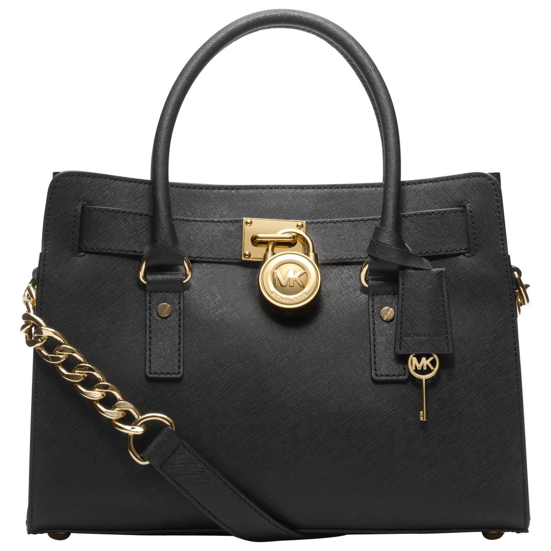 michael michael kors hamilton 18k east west leather satchel bag in black lyst. Black Bedroom Furniture Sets. Home Design Ideas