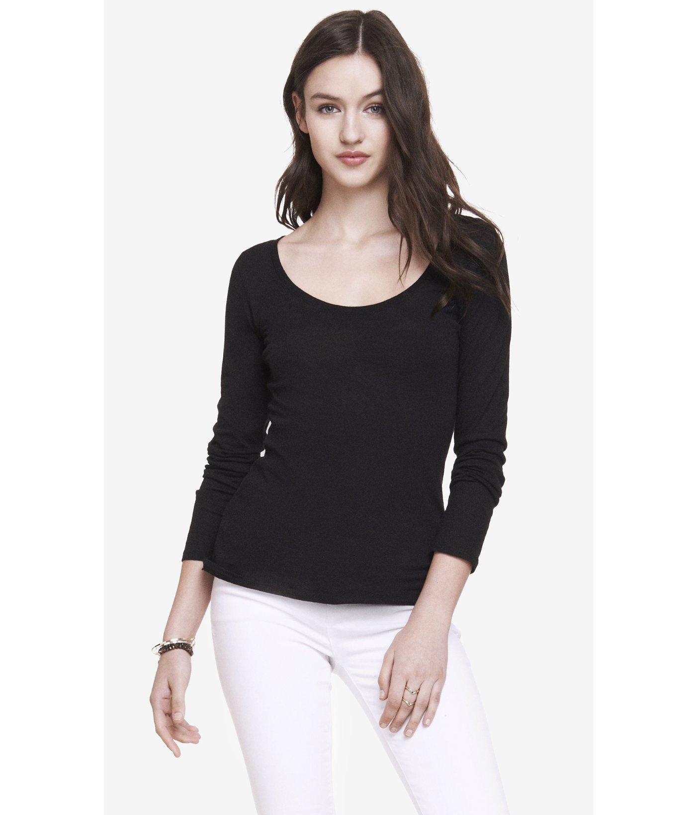 Express long sleeve scoop neck tee in black lyst for Long sleeve scoop neck shirt