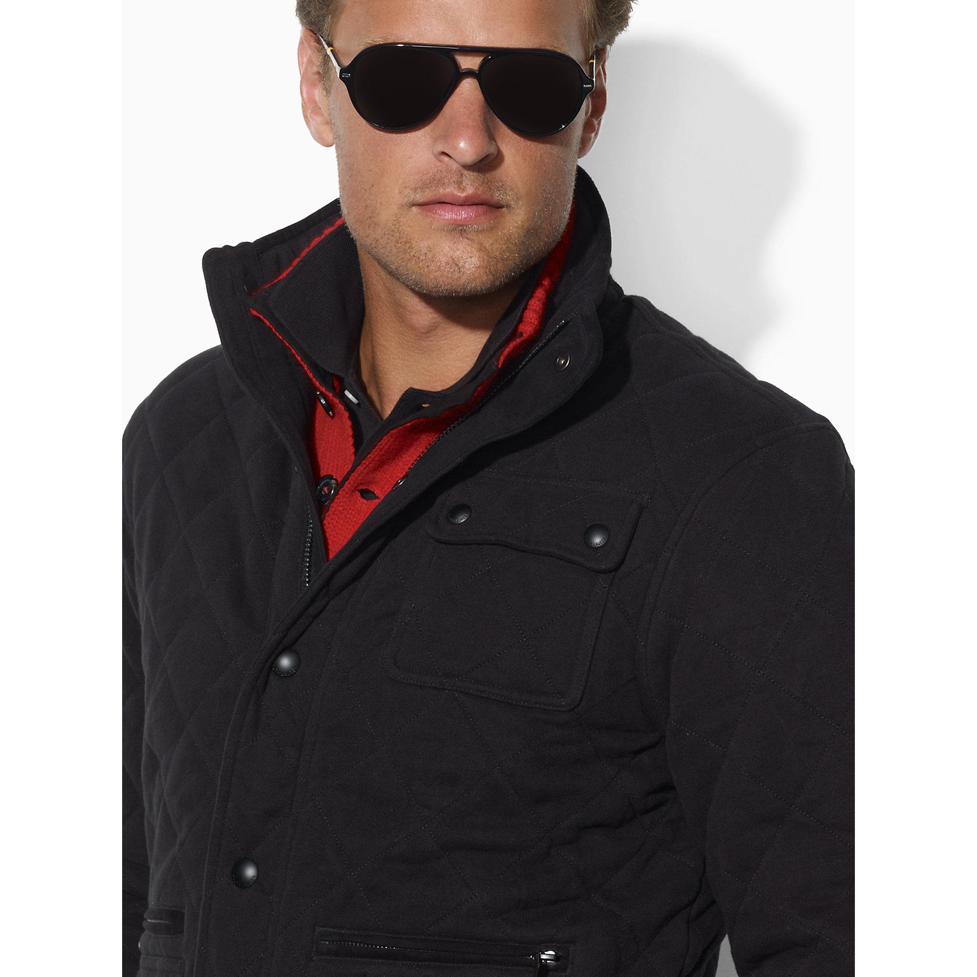 Polo ralph lauren Quilted Fleece Jacket in Black for Men | Lyst