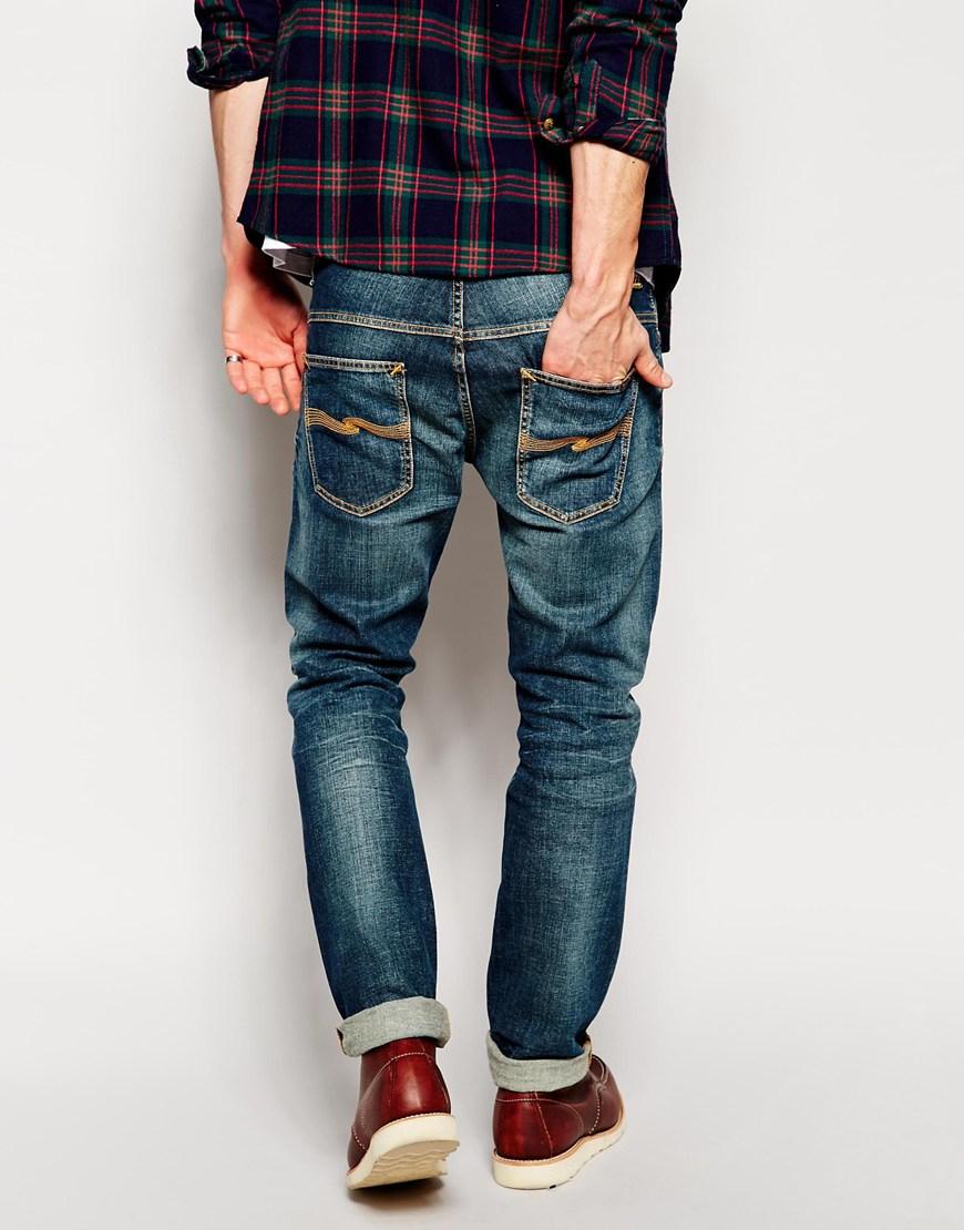 nudie jeans thin finn slim fit dusk indigo dark in blue. Black Bedroom Furniture Sets. Home Design Ideas