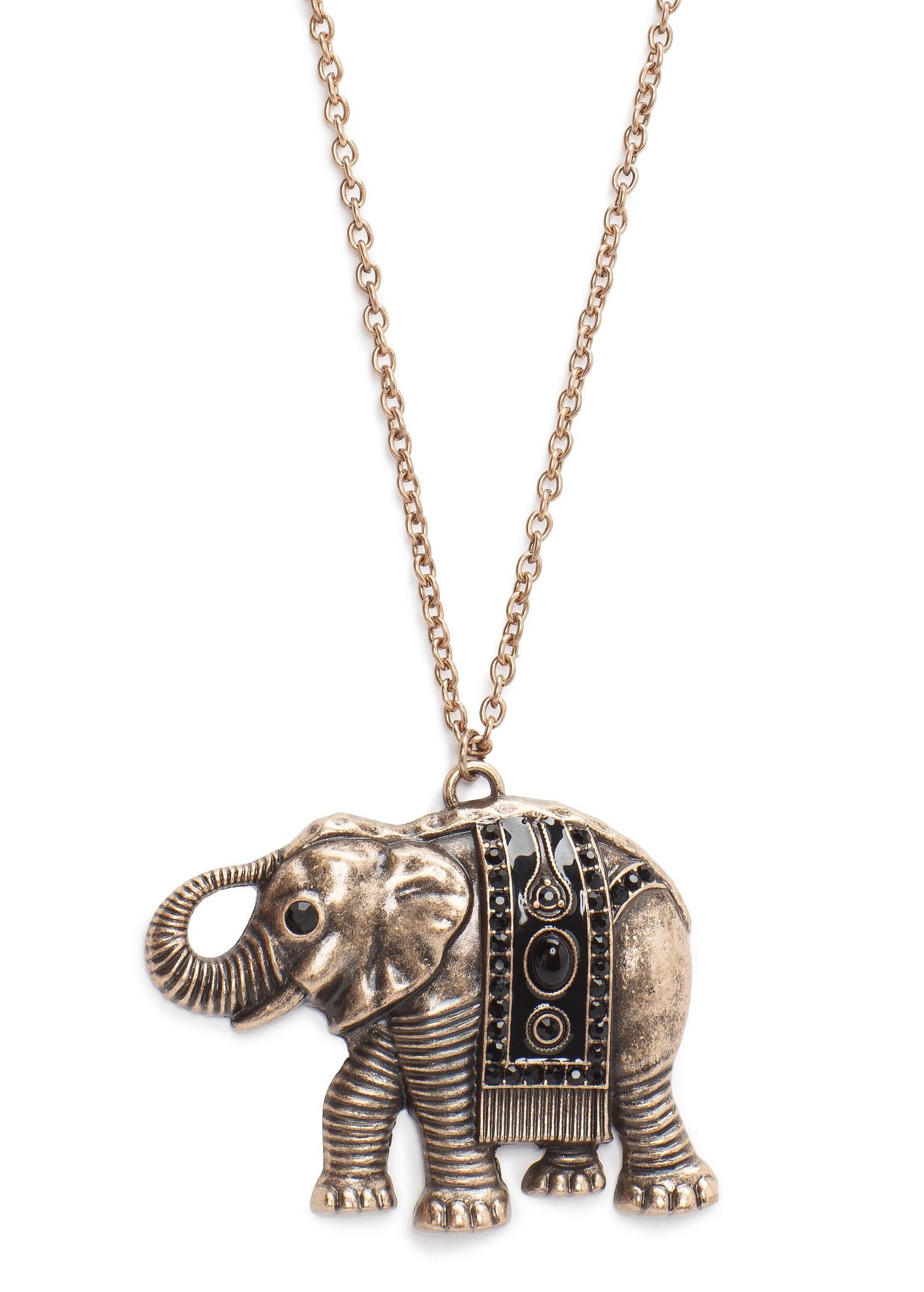 Lyst Mango Elephant Pendant Necklace In Metallic