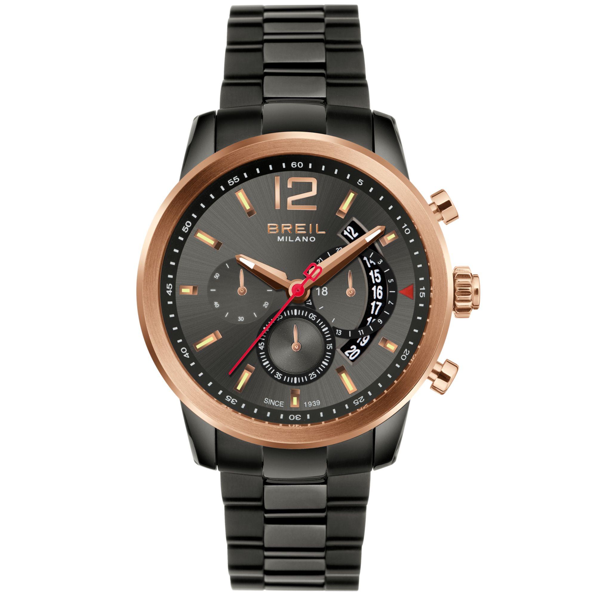 breil mens chronograph black ionplated bracelet