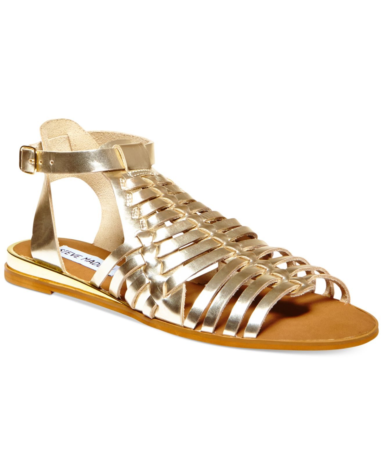 cdfe6e6c6 Lyst - Steve Madden Women s Comely Flat Gladiator Sandals in Metallic
