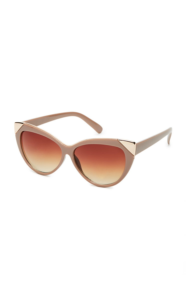 Sunglasses Forever 21  forever 21 metal trim cat eye sunglasses in brown lyst