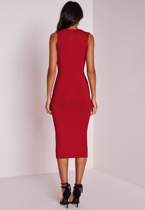 Lyst - Missguided Jersey Extreme Plunge Band Midi Dress Red in Red c60d2e17b