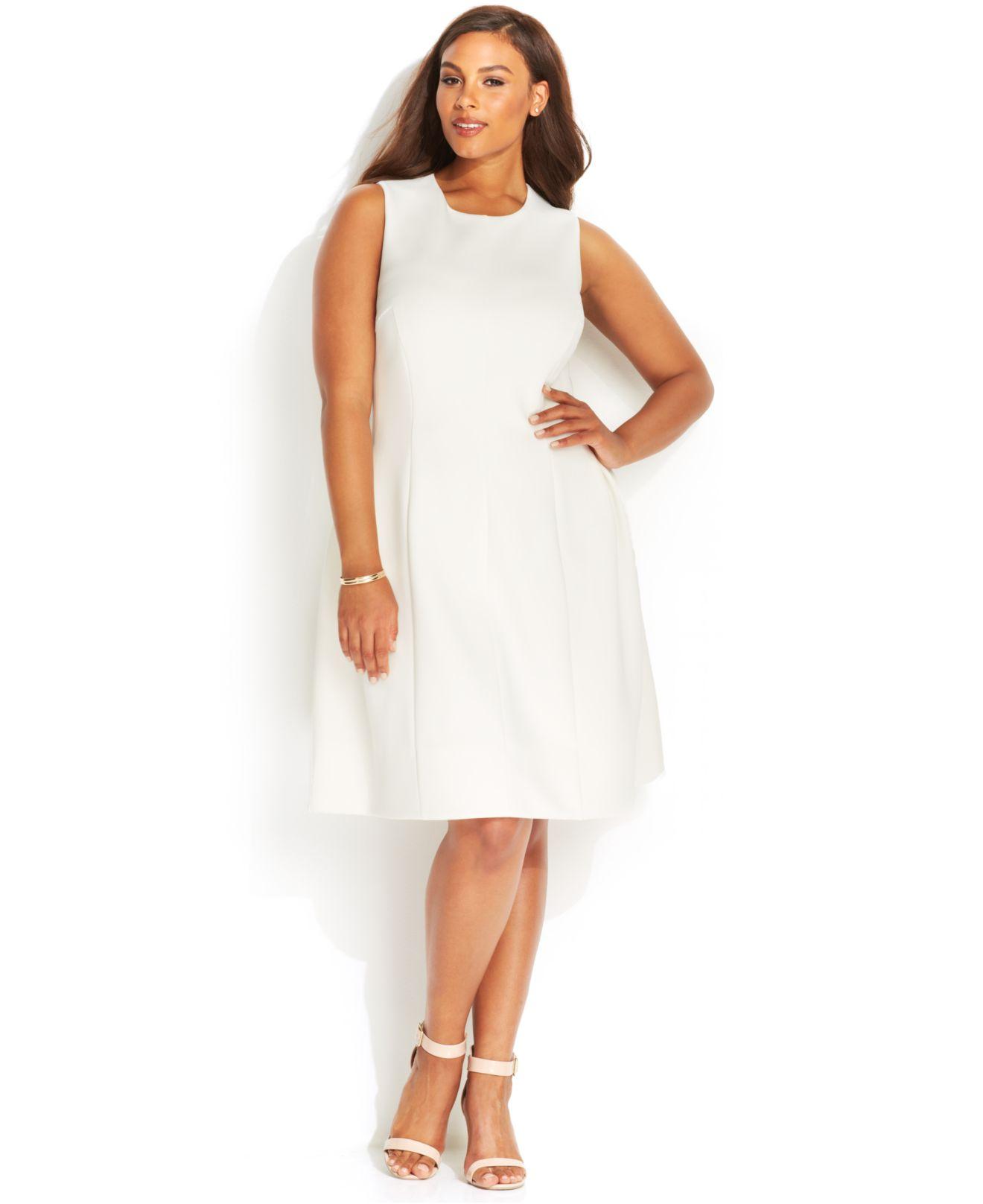 9b634250552 Lyst Calvin Klein Plus Size Sleeveless Side Pleat Scuba Dress In White