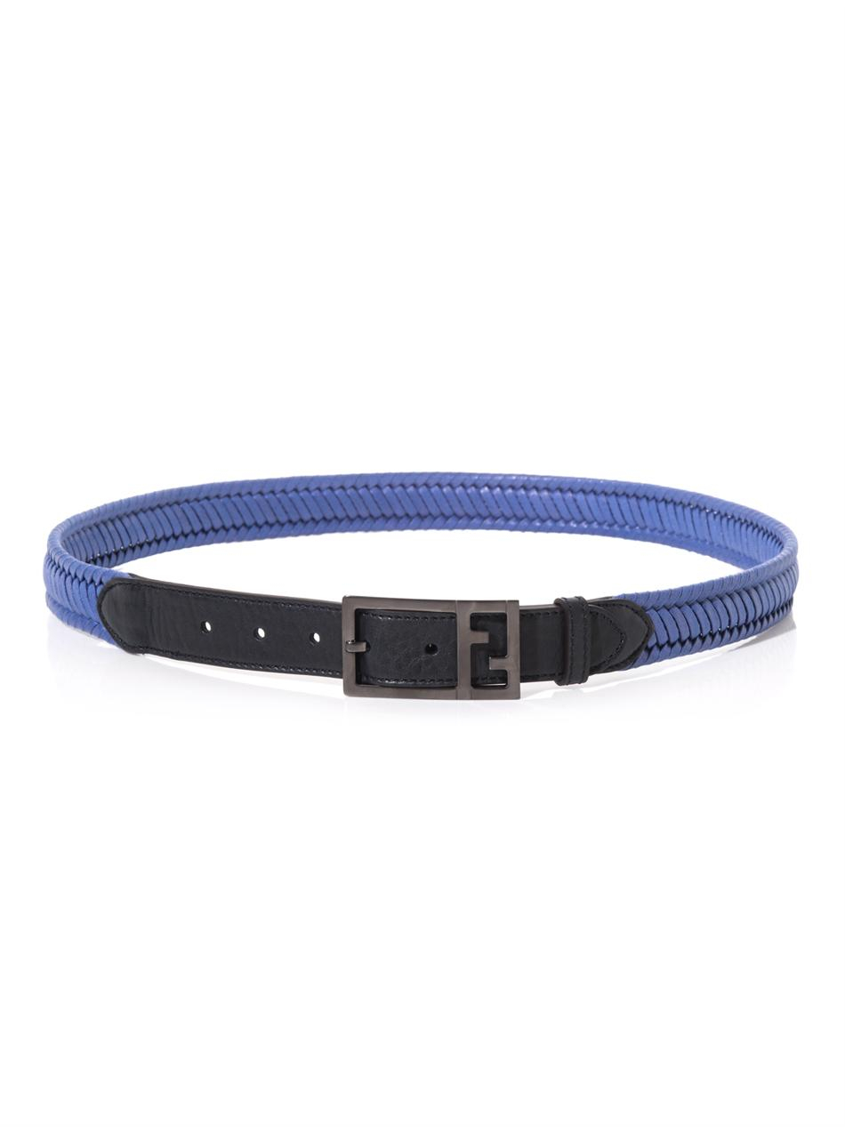 Fendi Coatedcanvas and Leather Belt in Blue for Men | Lyst