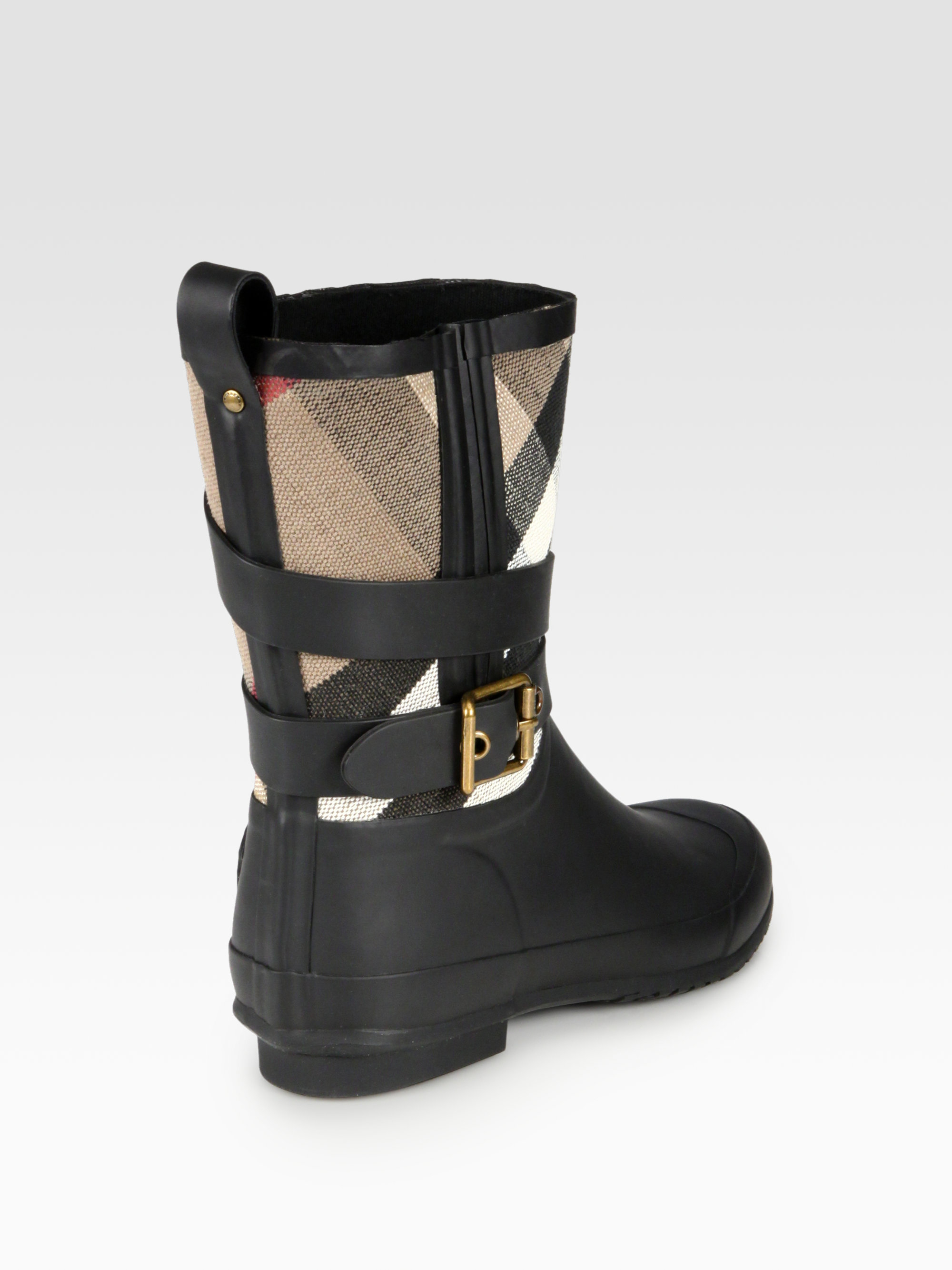 Burberry Holloway Canvas Rain Boots In Black Lyst