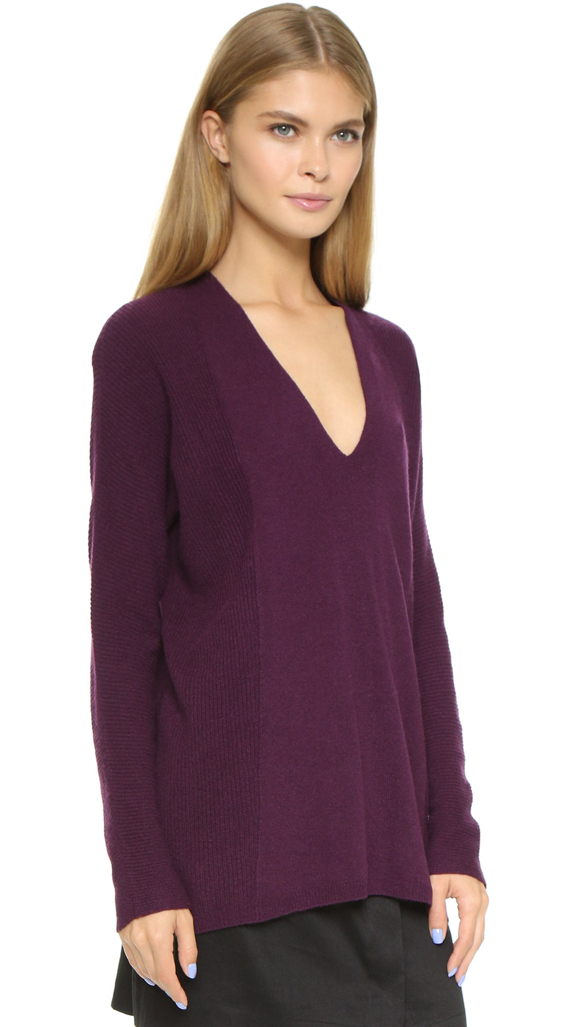Vince Directional Rib Cashmere Sweater - Concord in Purple | Lyst