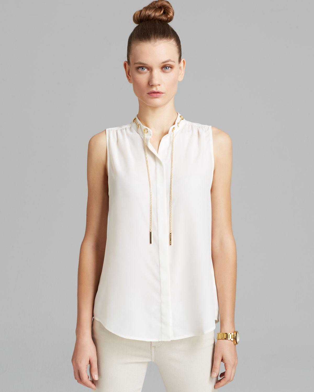 michael michael kors sleeveless chain neck blouse in white lyst. Black Bedroom Furniture Sets. Home Design Ideas