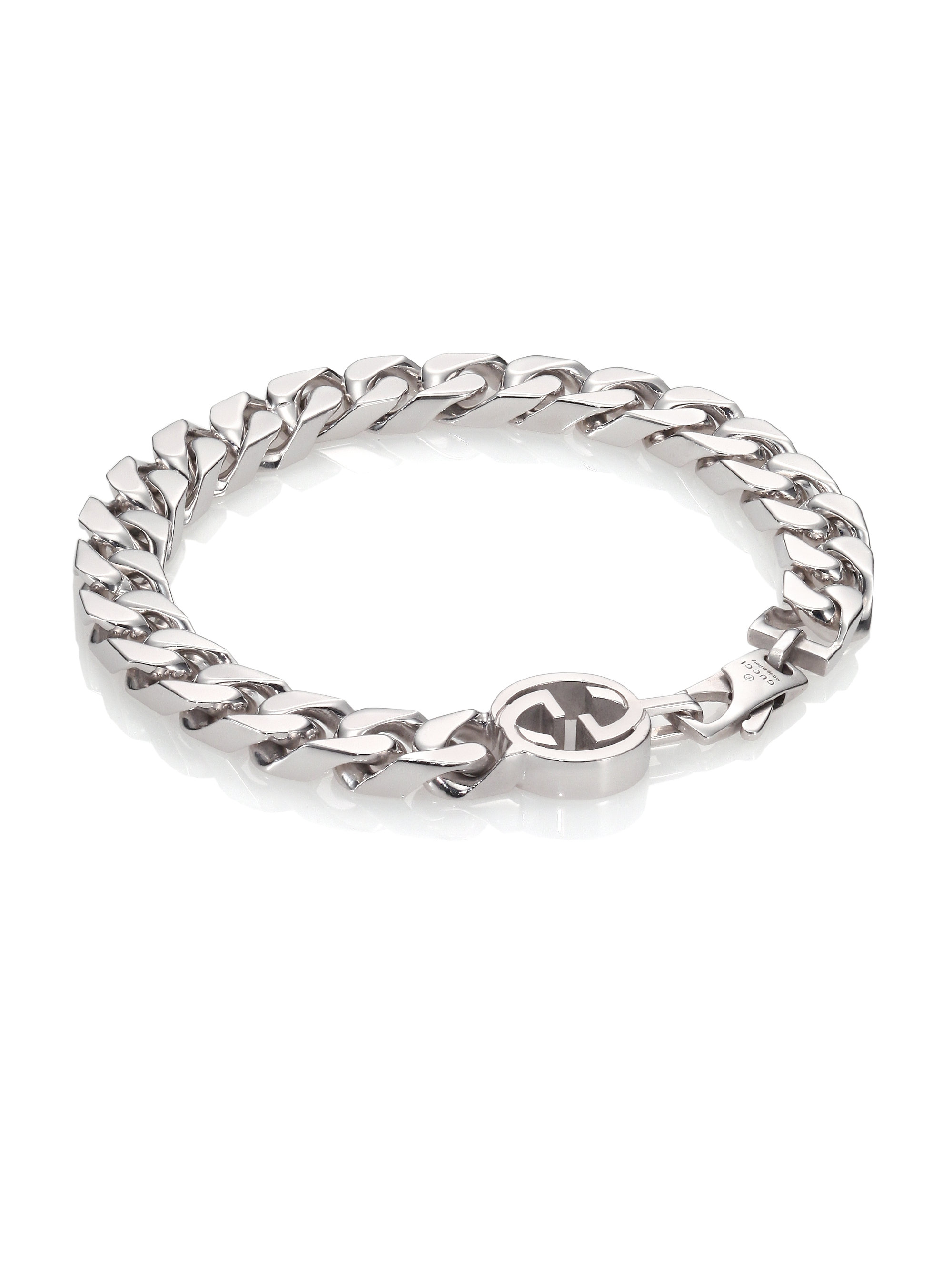 87e38c8b6985 Lyst - Gucci Interlocking Sterling Silver Bracelet in Metallic for Men