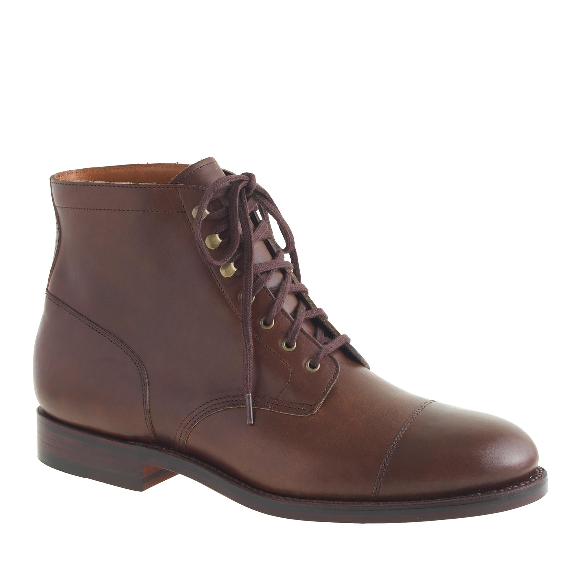 j crew ludlow cap toe boots in brown for lyst