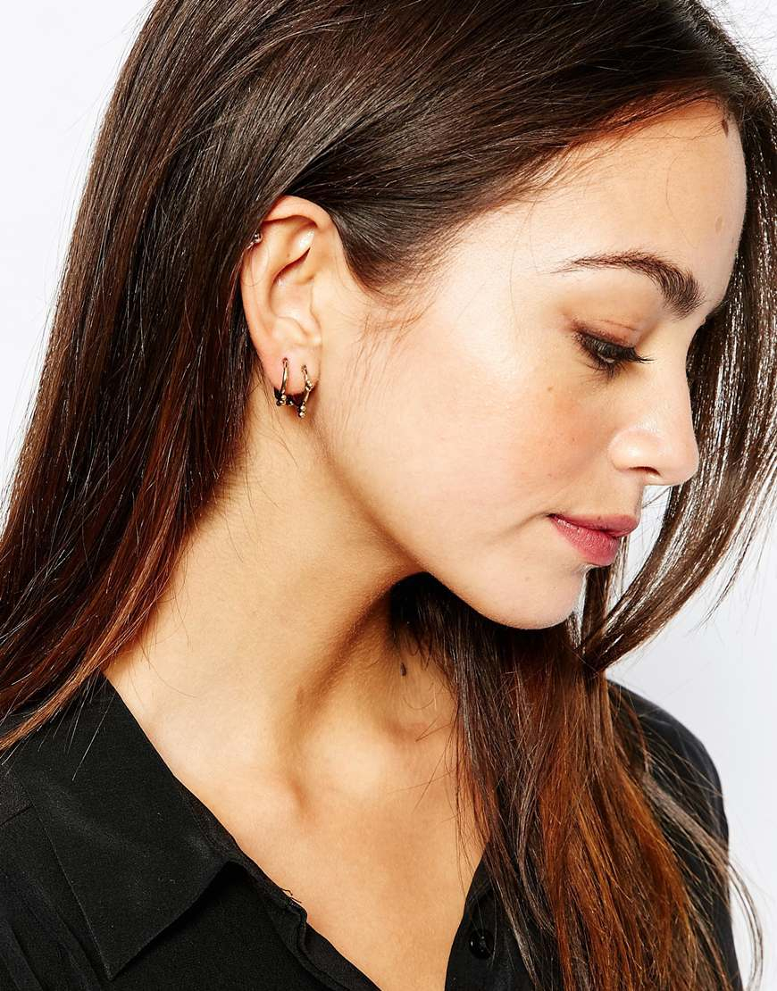 ear metallic jewelry luv product normal in earring aj silver lyst jacket earrings gallery barbell