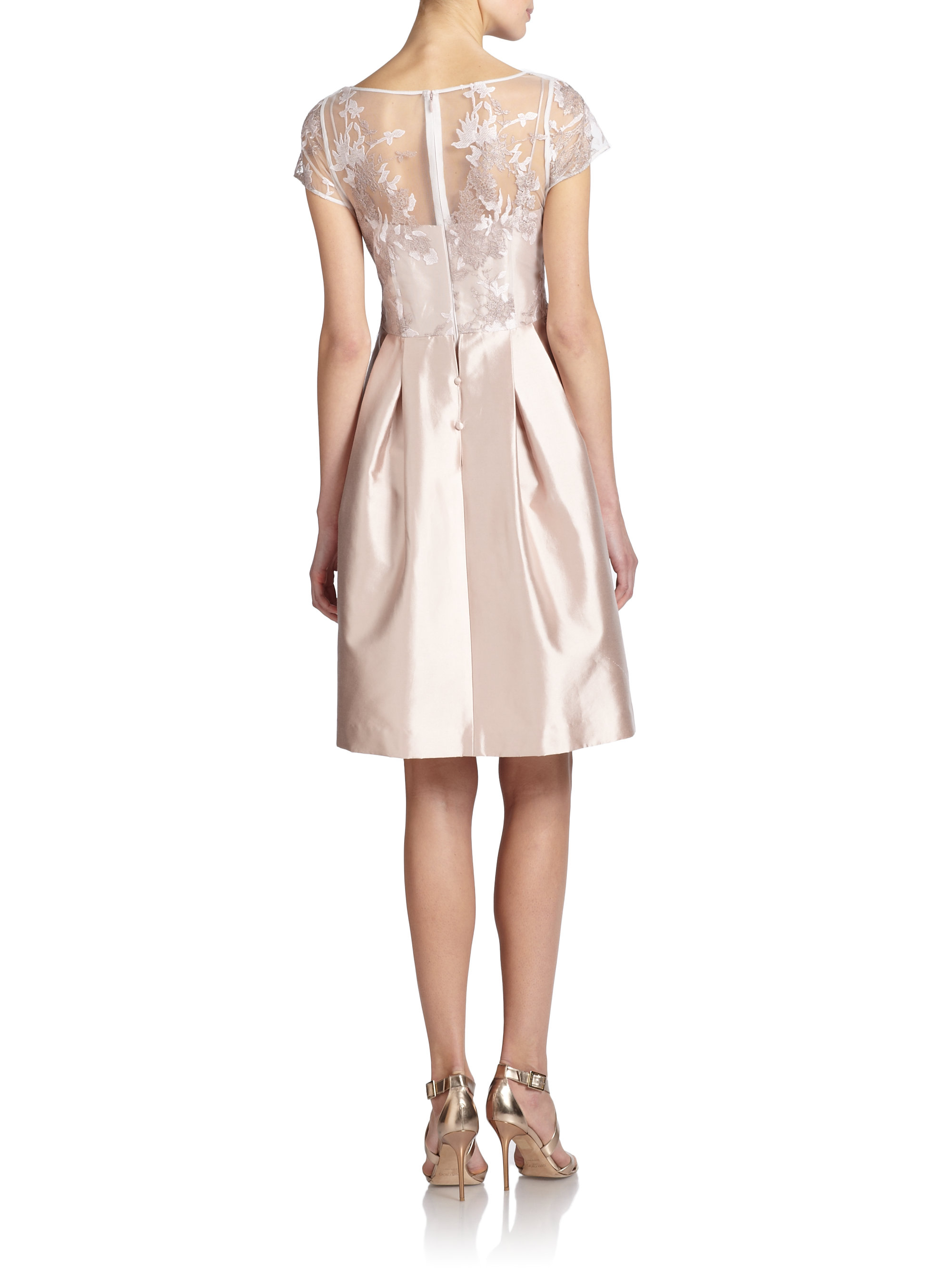 Lyst Teri Jon Lace Topped Silkcotton Satin Dress In Pink