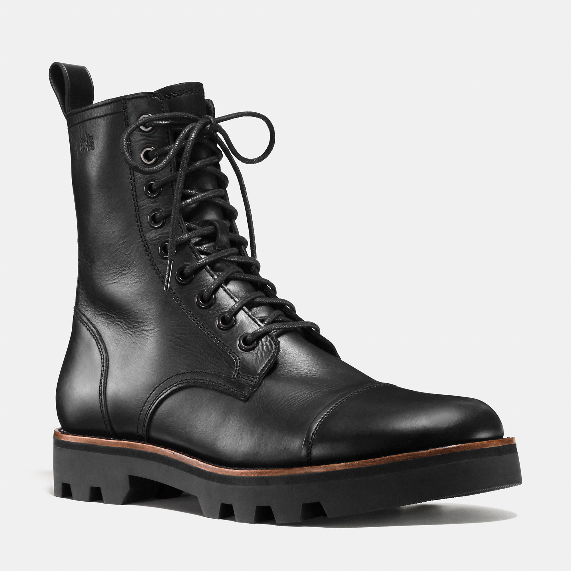 coach tompkins combat boot in black for lyst
