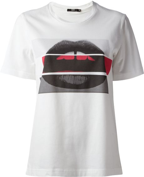 Markus Lupfer Colour Block Lara Lip Print T Shirt In White