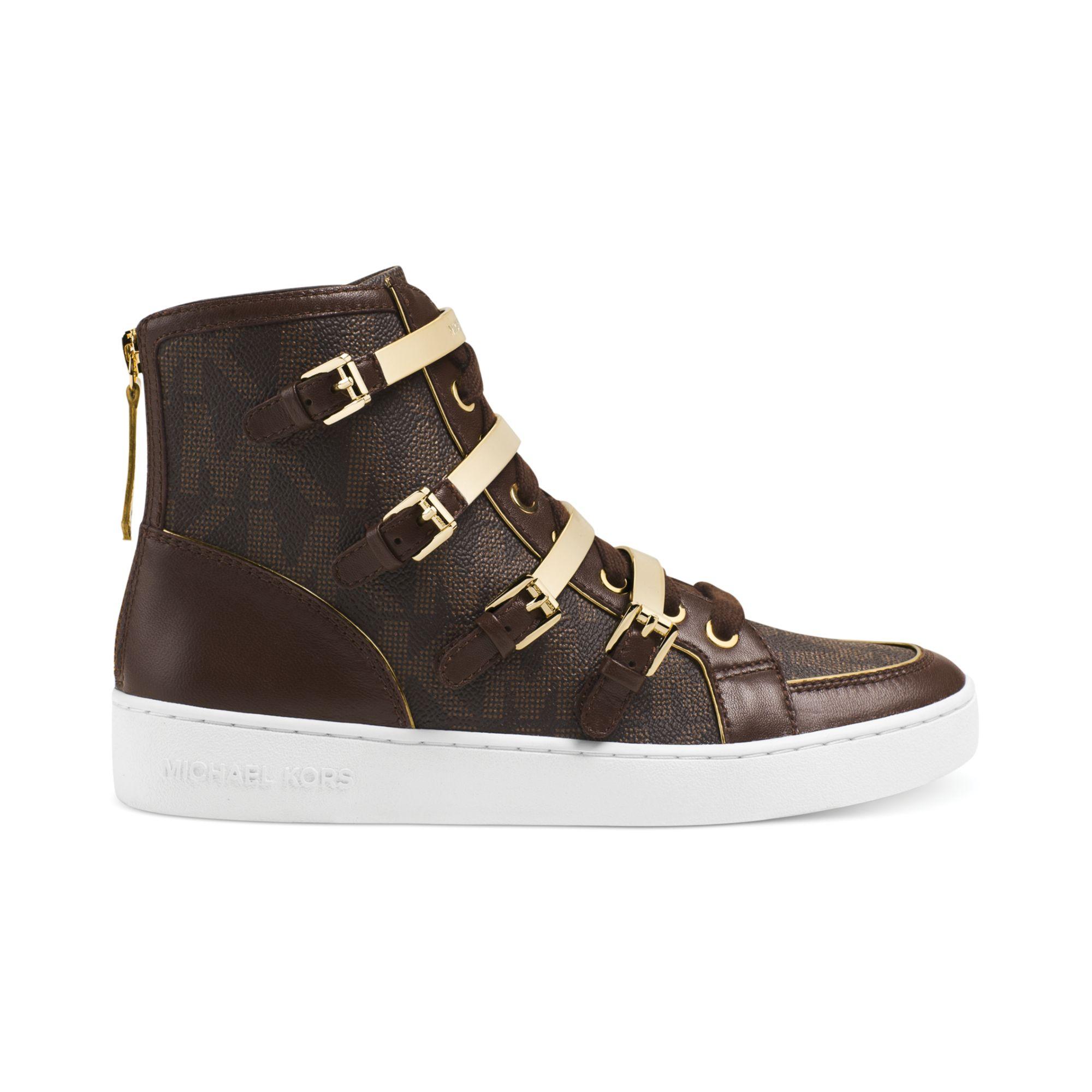 michael kors michael kimberly high top sneakers in brown brown mk pvc lyst. Black Bedroom Furniture Sets. Home Design Ideas