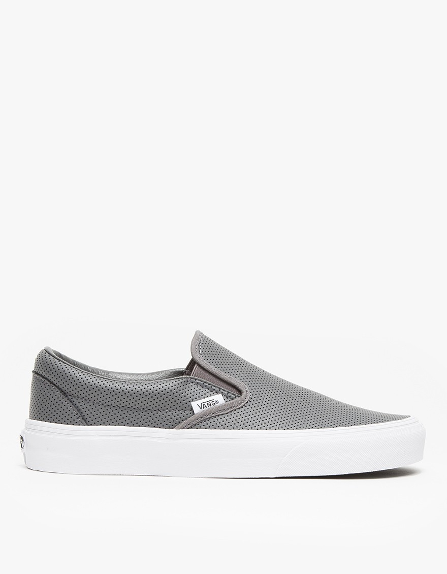40715875594 Lyst - Vans Classic Slip-on Perf Leather in Gray
