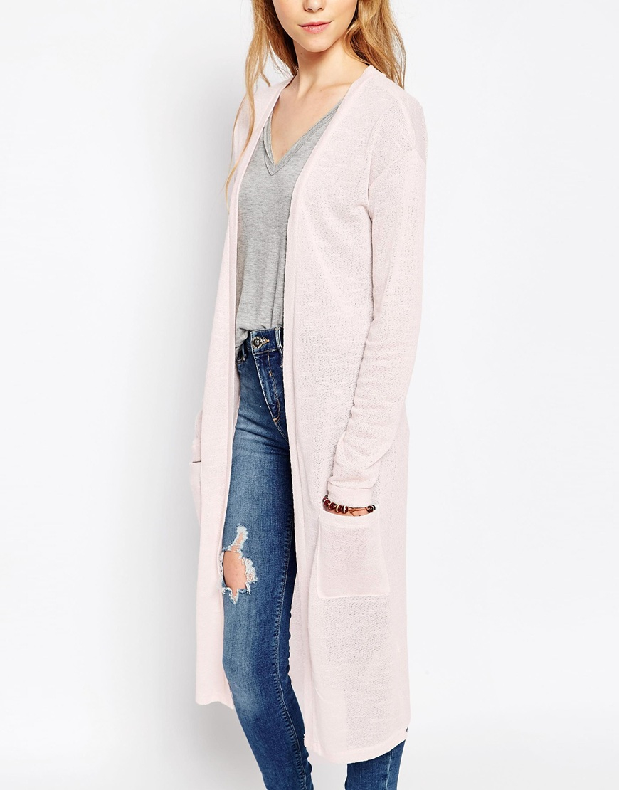 Vila Long Lined Cardigan With Front Pockets in Pink | Lyst