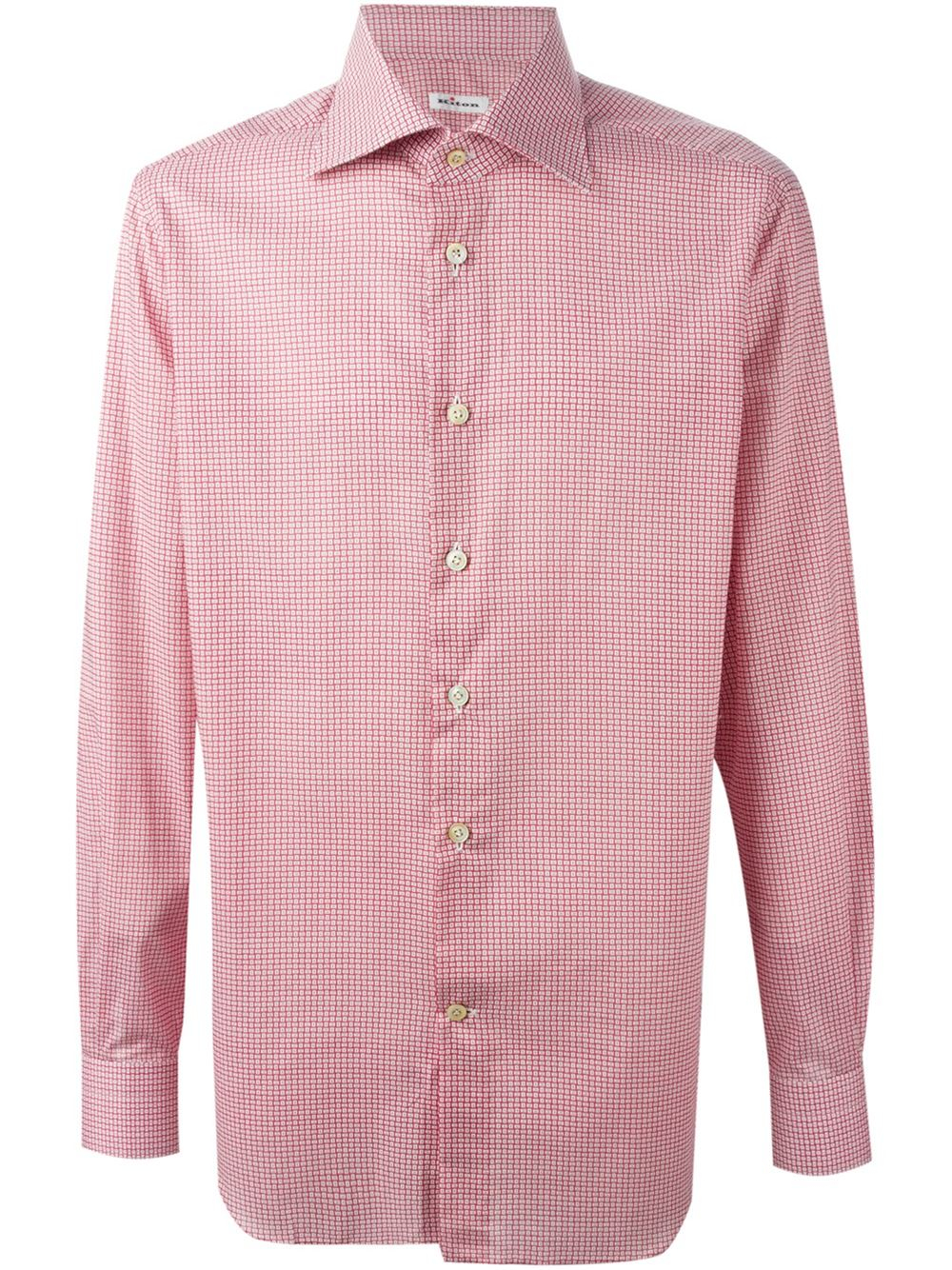 Kiton printed spread collar shirt in red for men lyst for What is a spread collar shirt