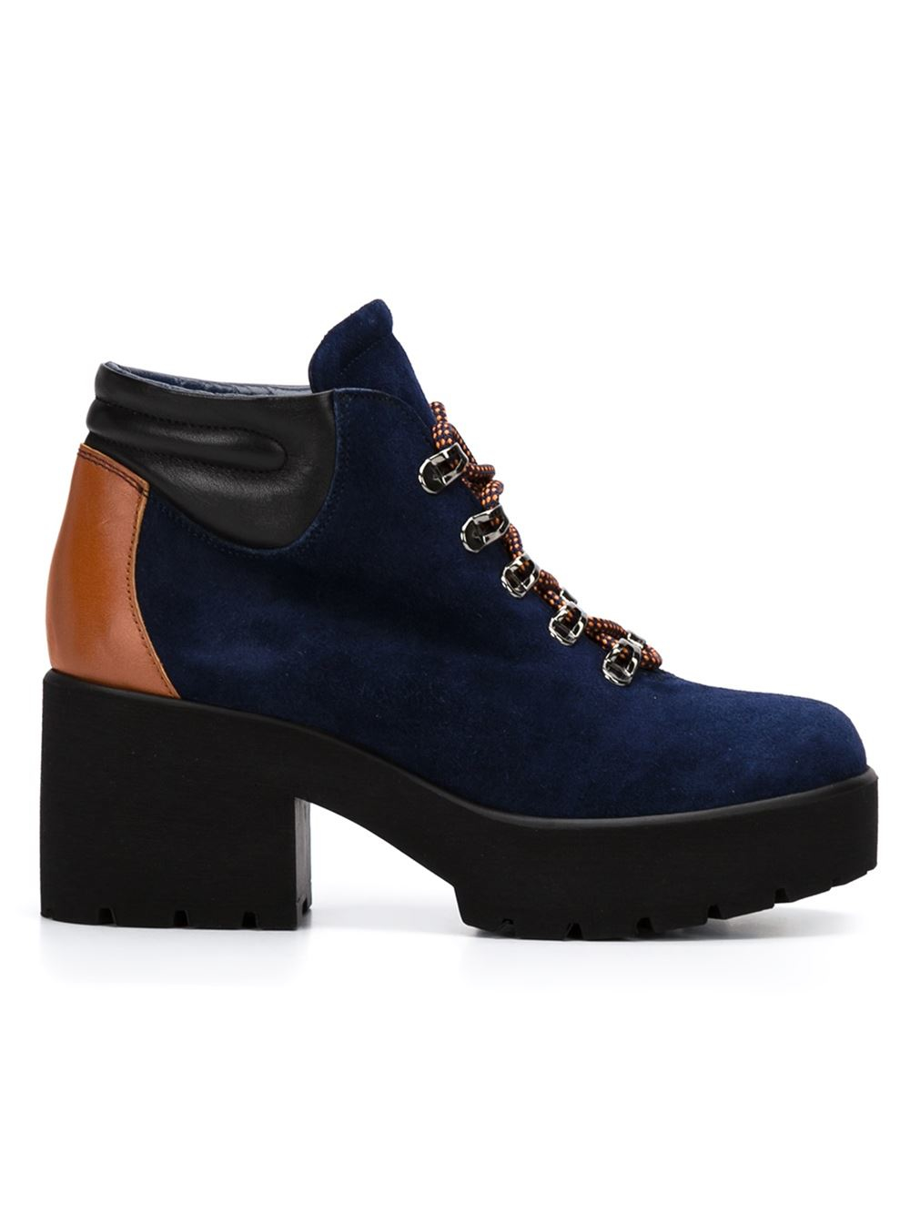pollini chunky heel hiking boots in blue lyst